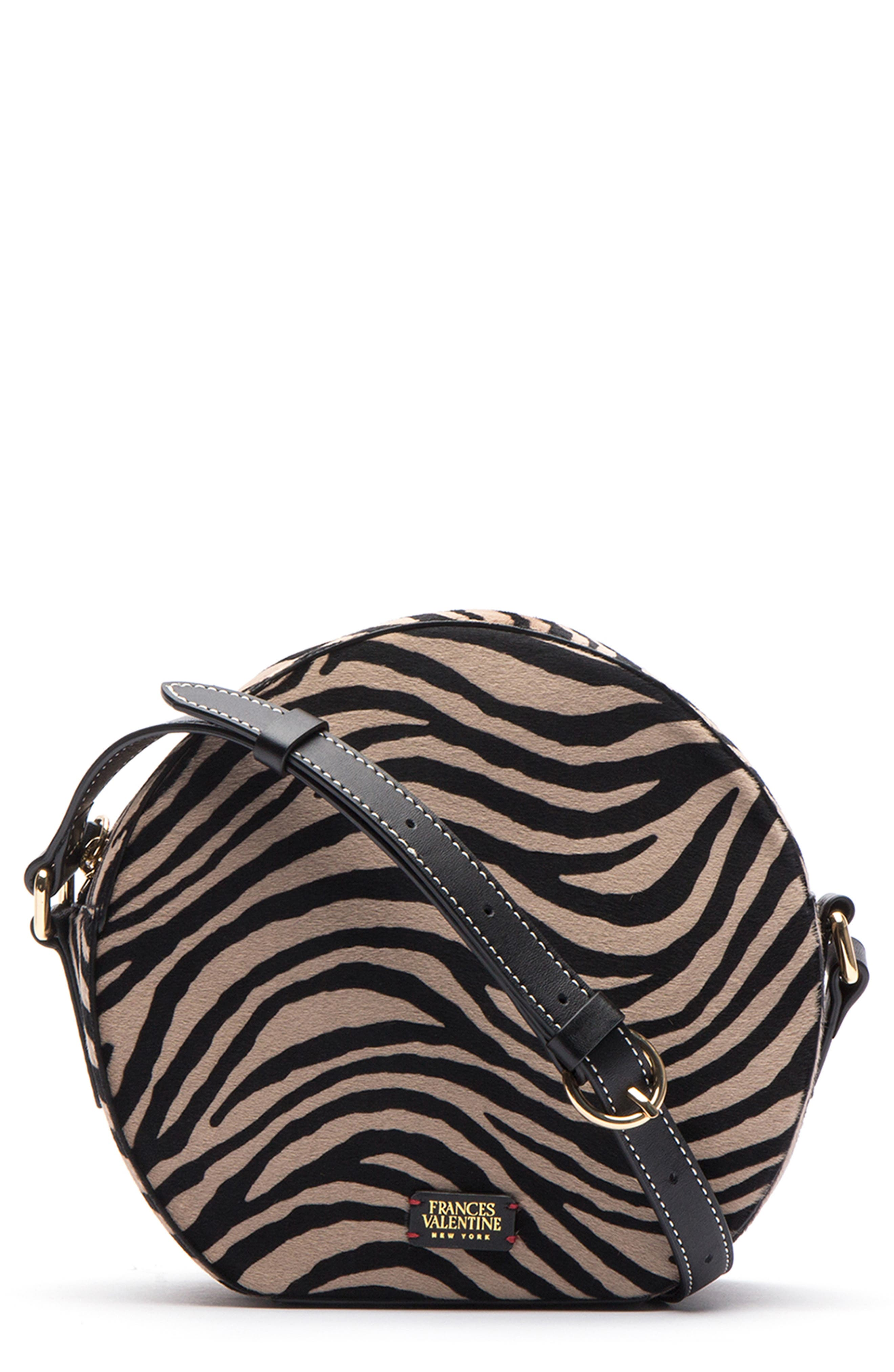 Frances Valetine Lulu Genuine Calf Hair Round Crossbody Bag,                             Main thumbnail 1, color,                             ZEBRA