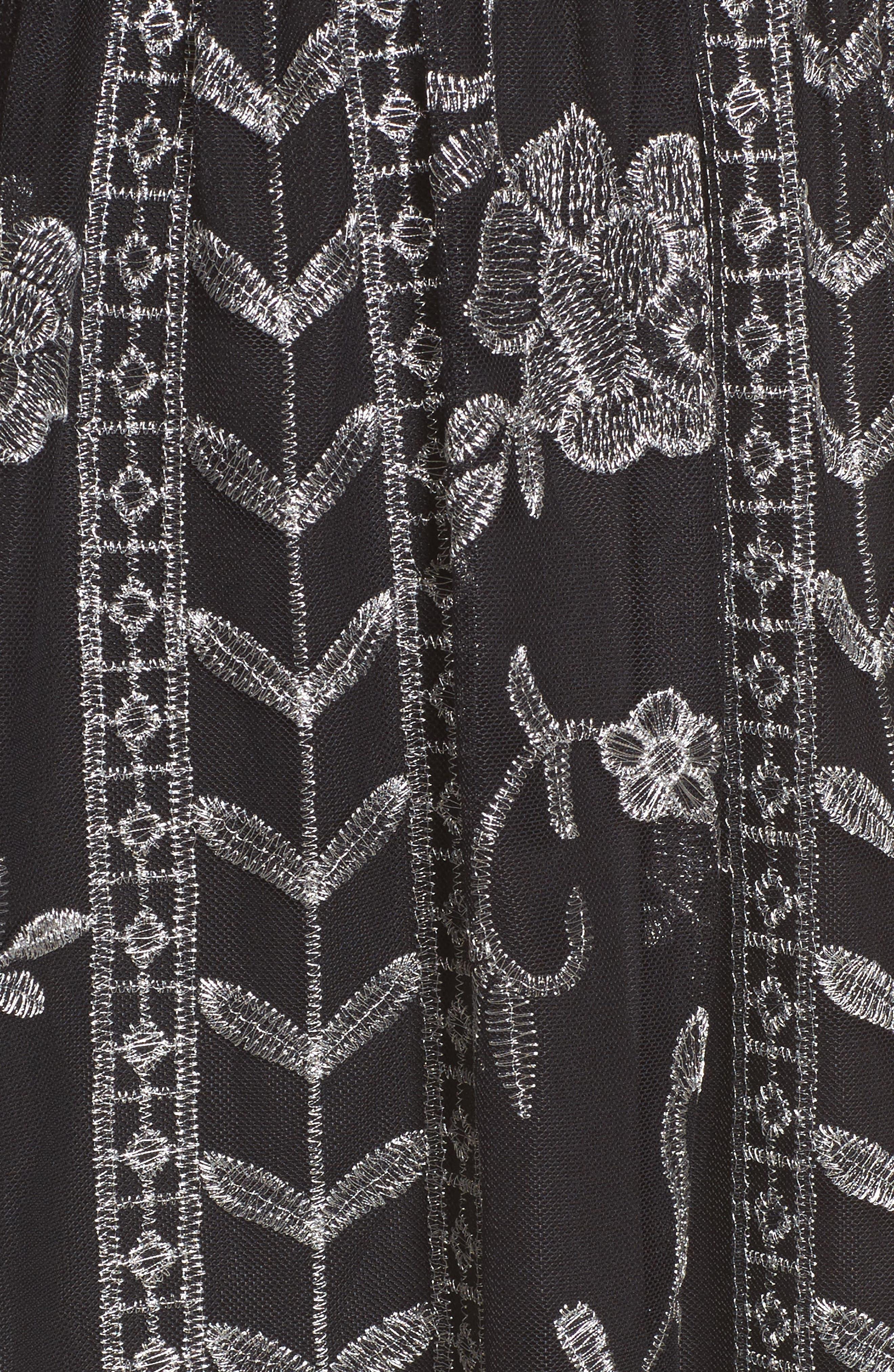 Plunging Lace Dress,                             Alternate thumbnail 5, color,