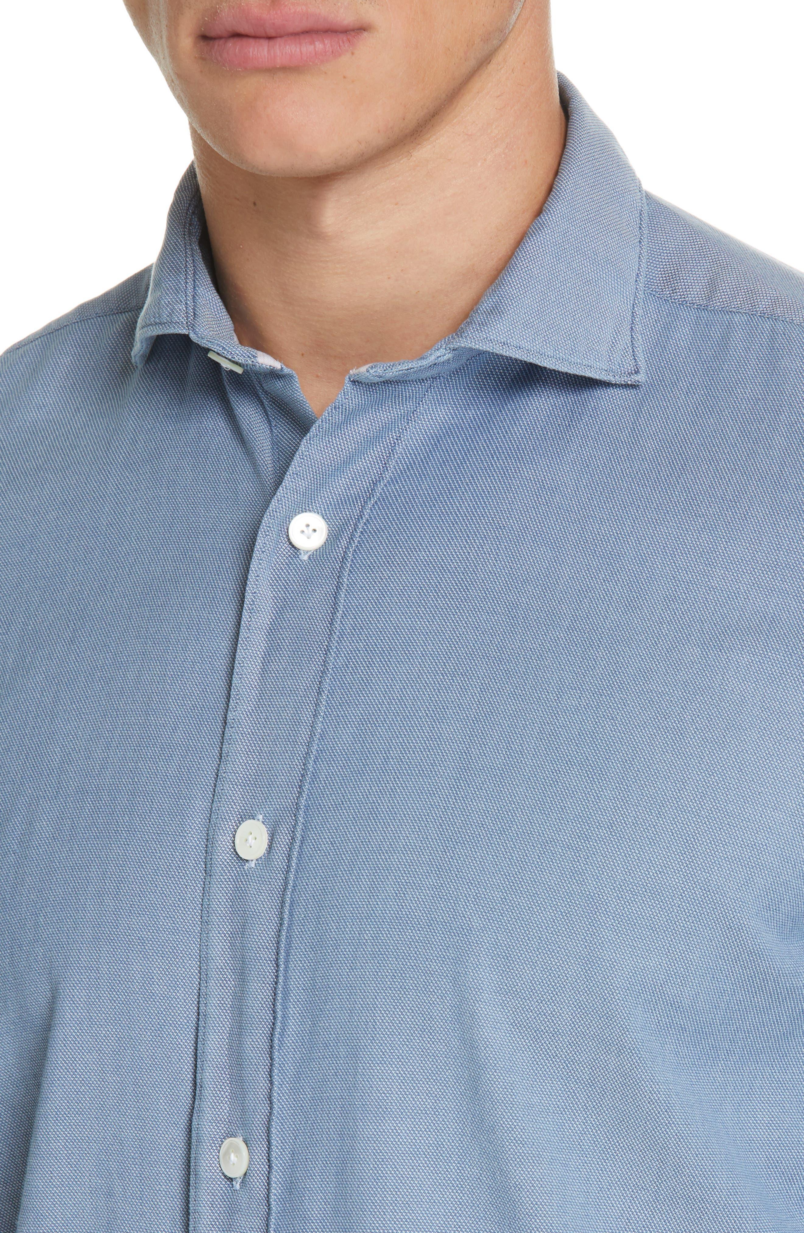 ELEVENTY,                             Trim Fit Stretch Solid Sport Shirt,                             Alternate thumbnail 2, color,                             DENIM