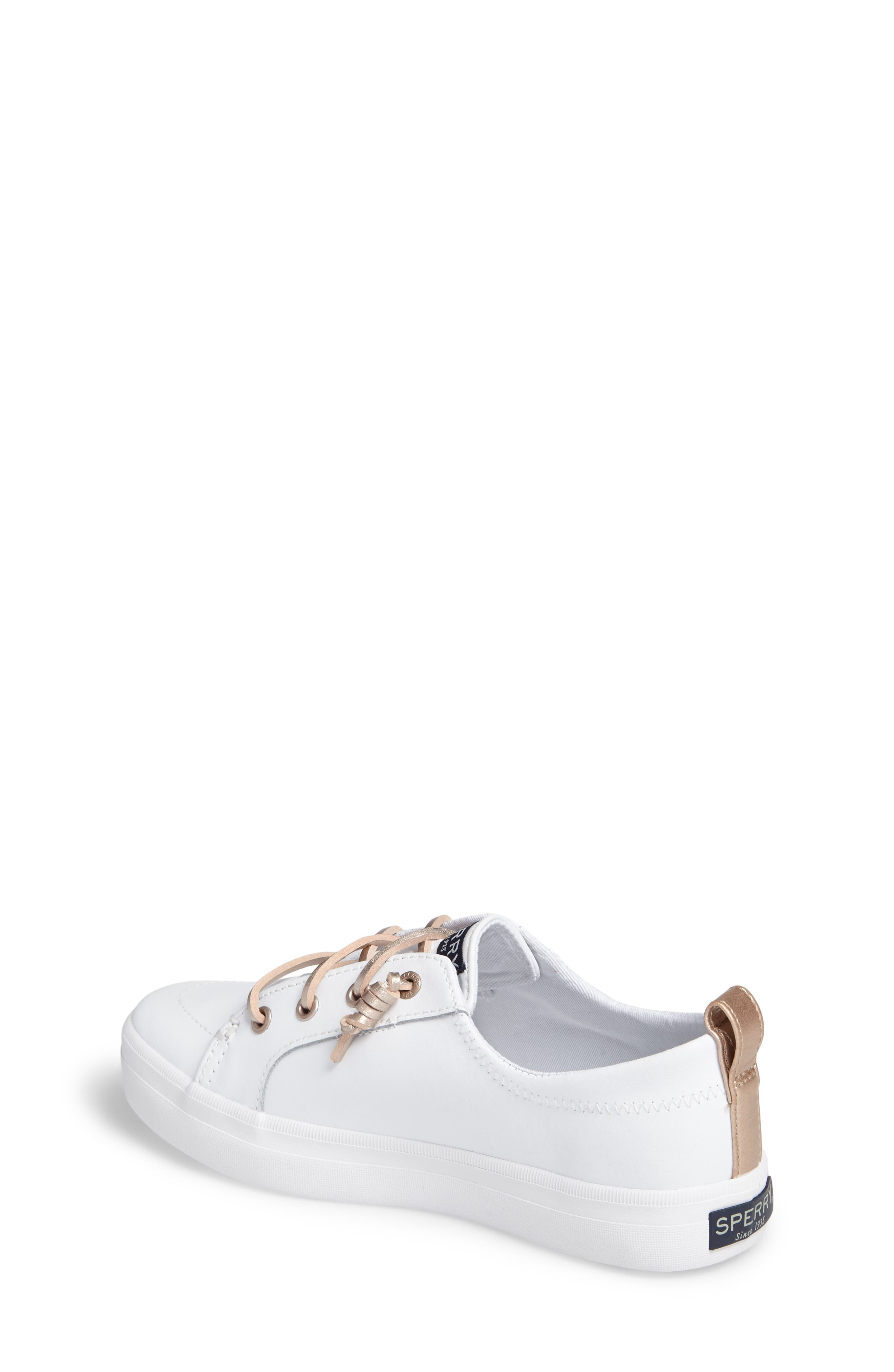 Sperry Crest Vibe Sneaker,                             Alternate thumbnail 2, color,                             WHITE LEATHER