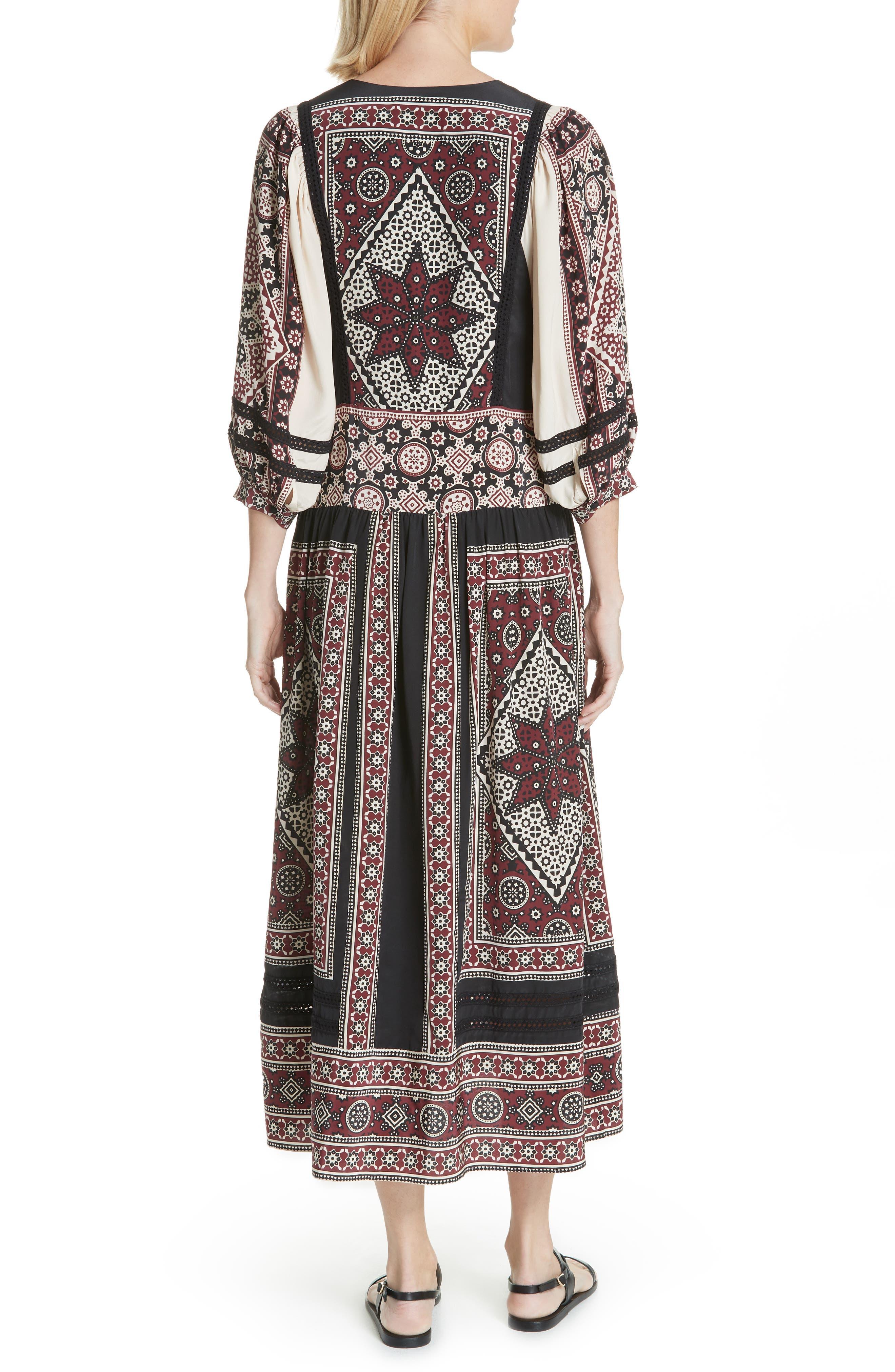 Ezri Print Midi Dress,                             Alternate thumbnail 2, color,                             BRICK MULTI