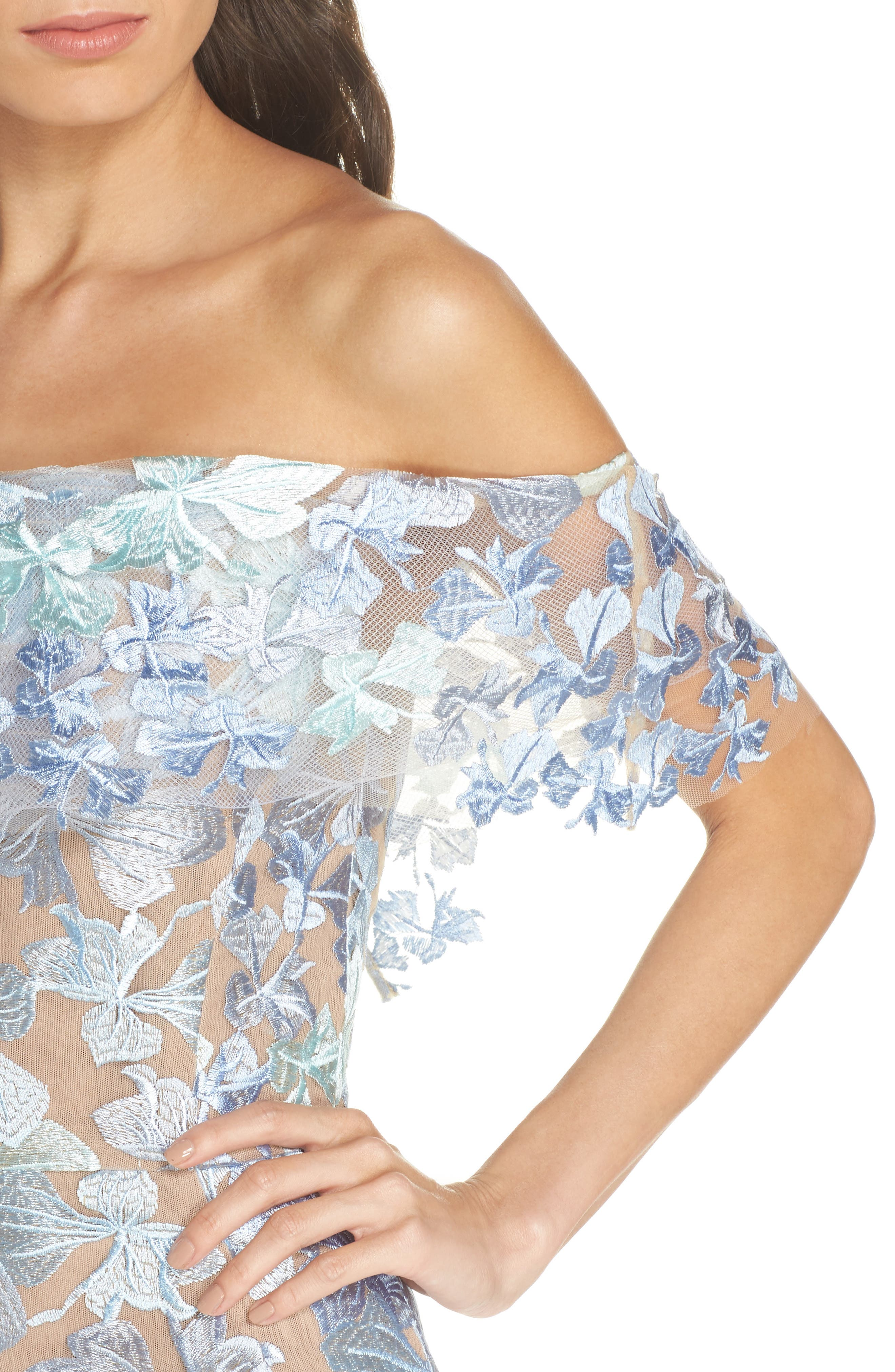 Butterfly Embroidered Off the Shoulder Mermaid Dress,                             Alternate thumbnail 4, color,                             BLUE/ GREEN