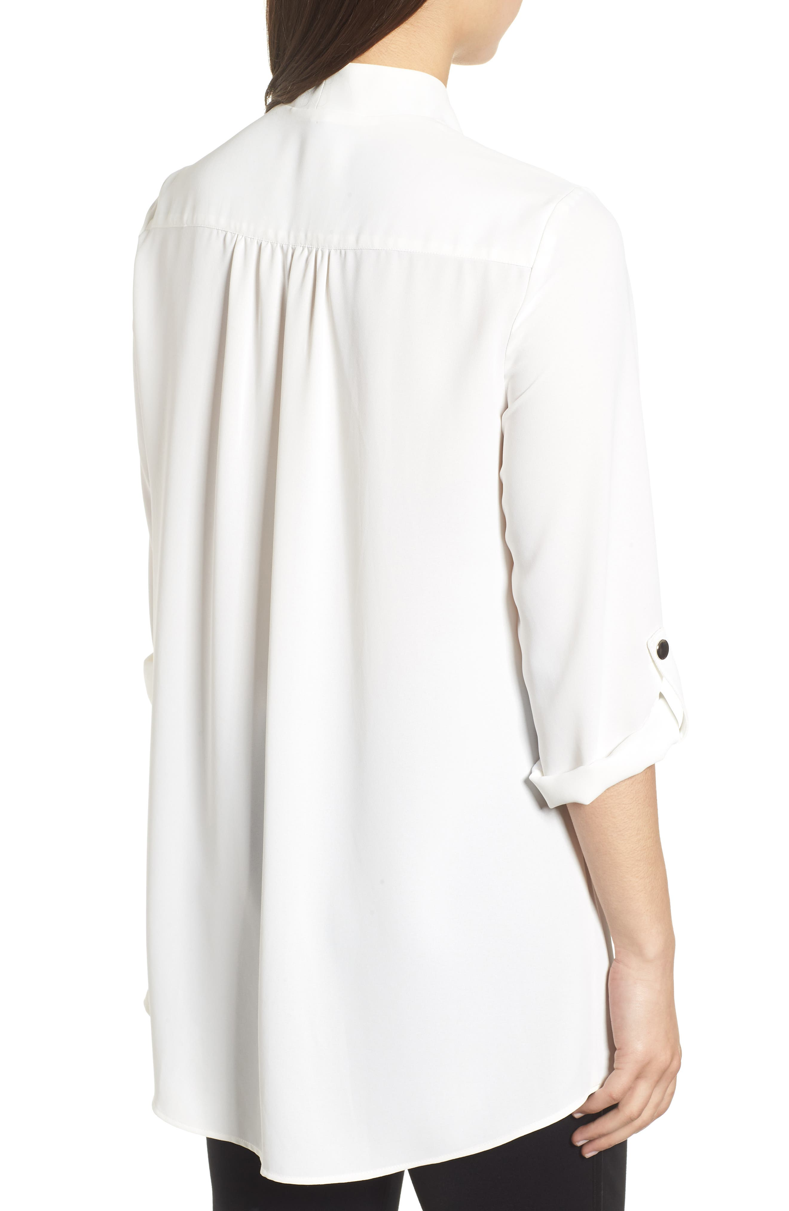 Crossover Front Blouse,                             Alternate thumbnail 2, color,                             WHITE