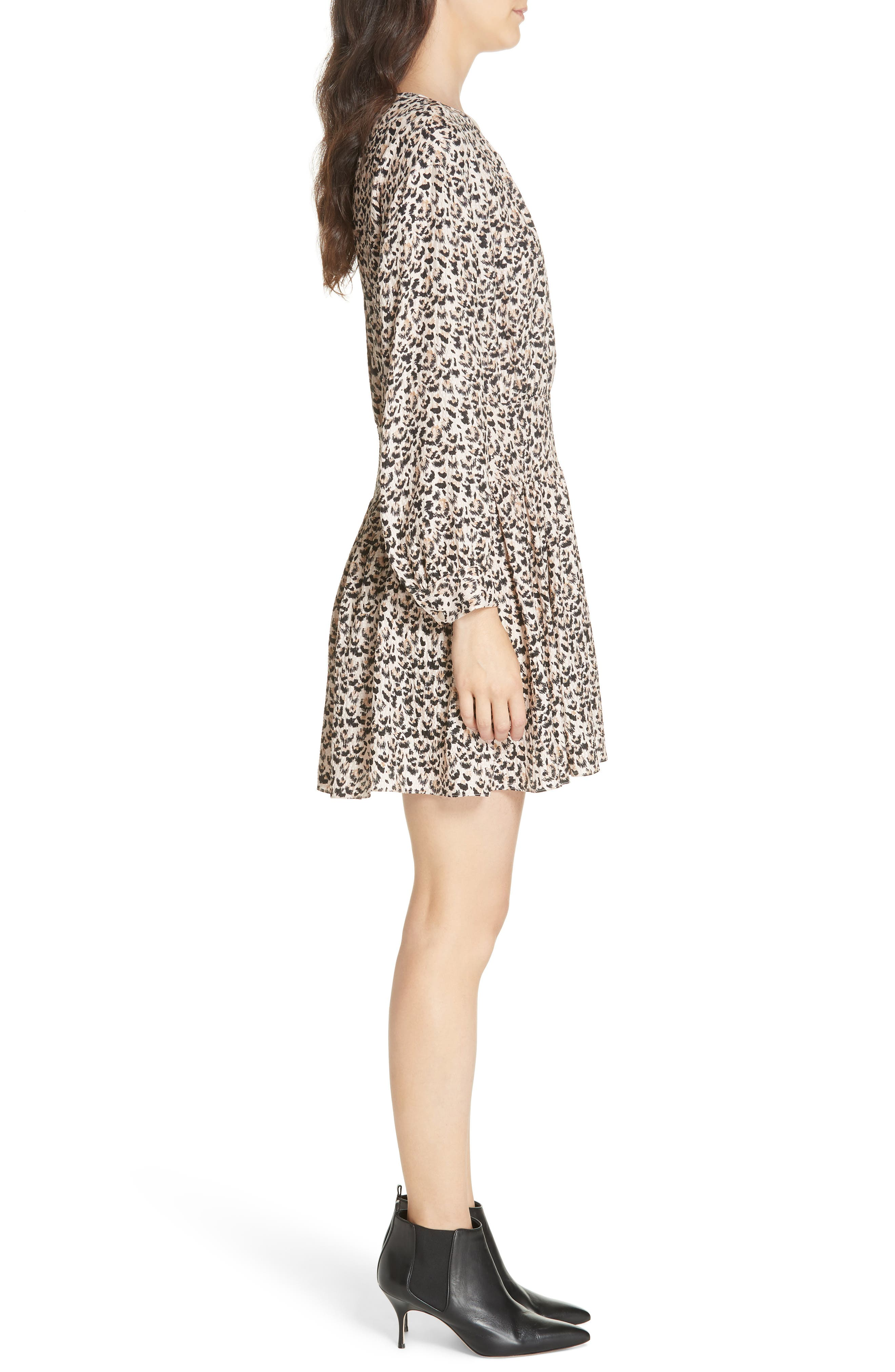 Leopard Print Silk Dress,                             Alternate thumbnail 3, color,                             CARAMEL COMBO