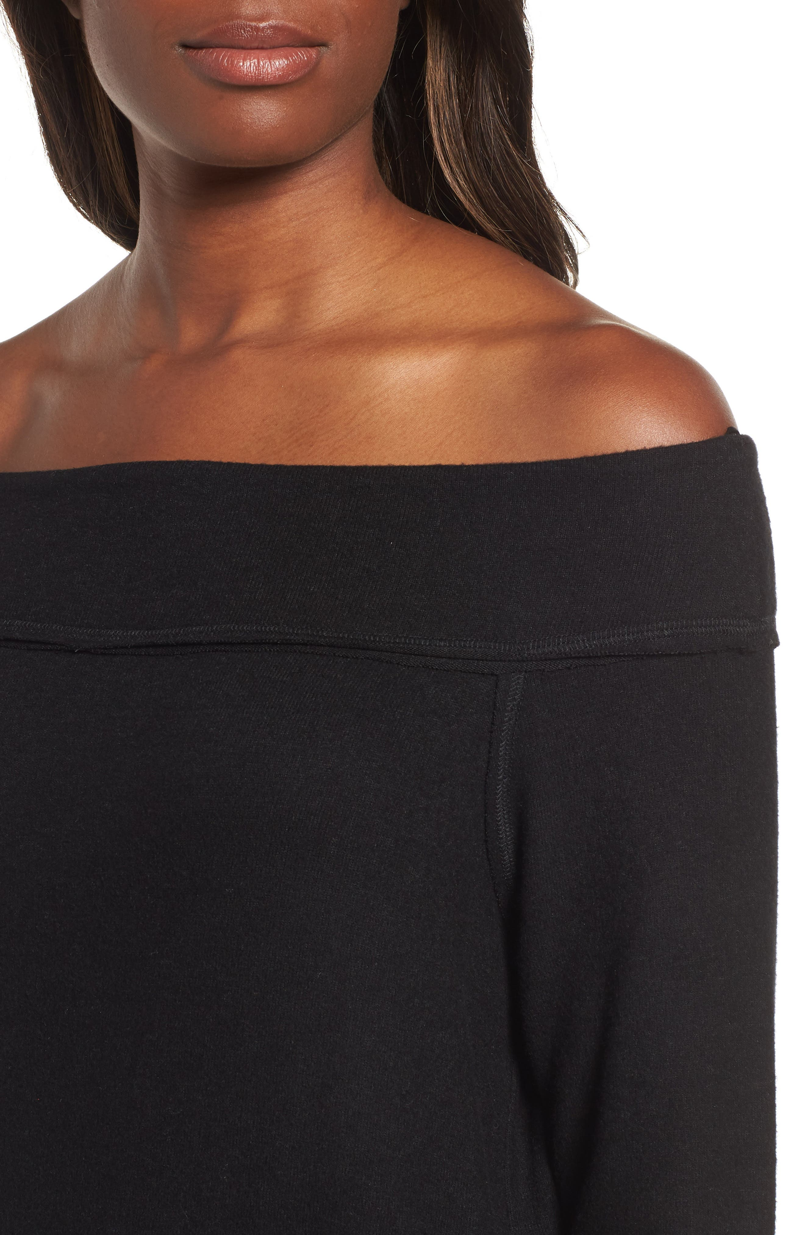 GIBSON,                             x Living in Yellow Mary Fleece Off the Shoulder Top,                             Alternate thumbnail 4, color,                             BLACK