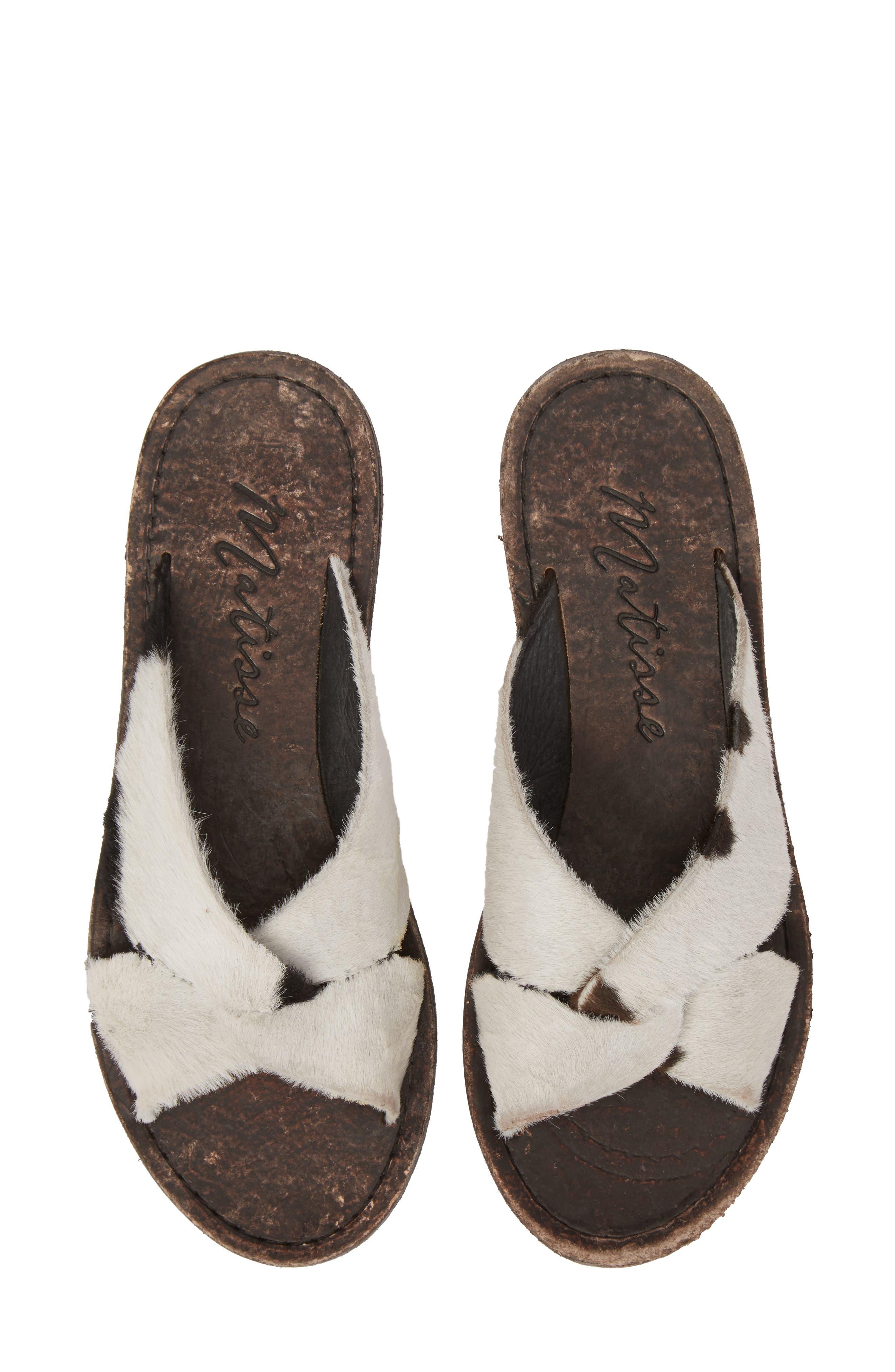 Alamosa Genuine Calf Hair Sandal,                             Main thumbnail 1, color,                             BLACK/ WHITE