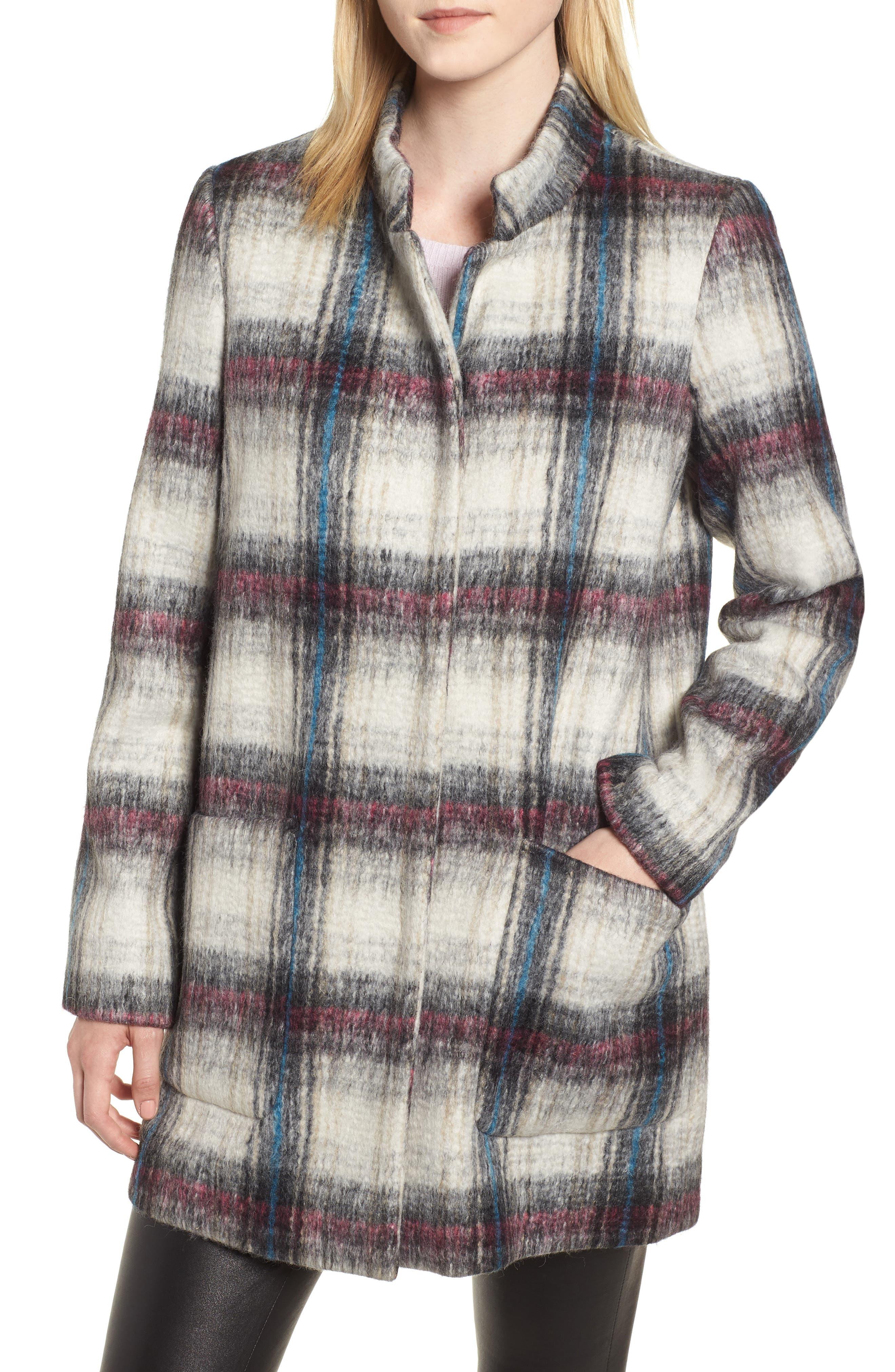 Drop Shoulder Plaid Wool Blend Coat,                         Main,                         color, 250