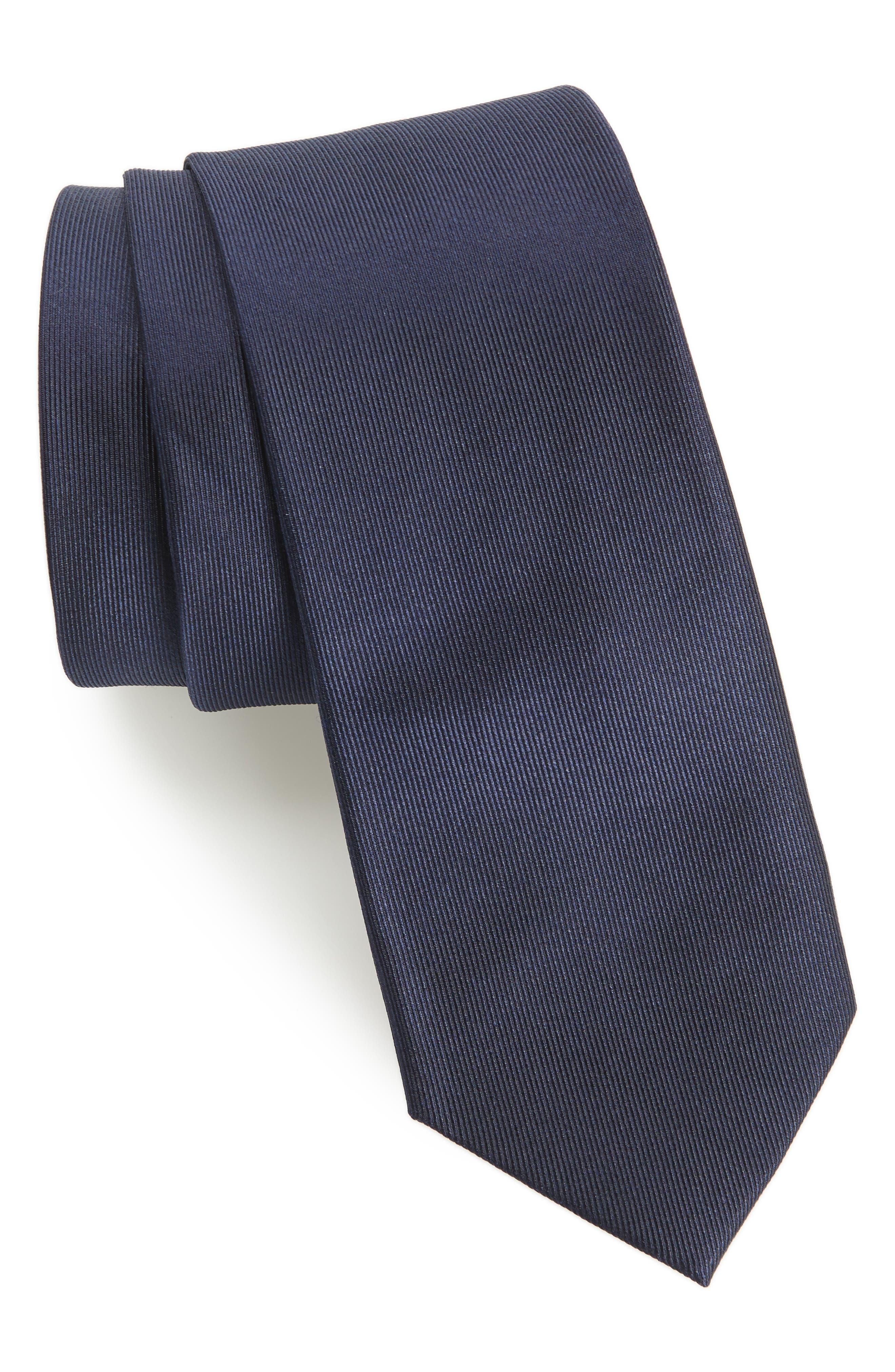 Lucaya Solid Silk Tie,                         Main,                         color, NAVY