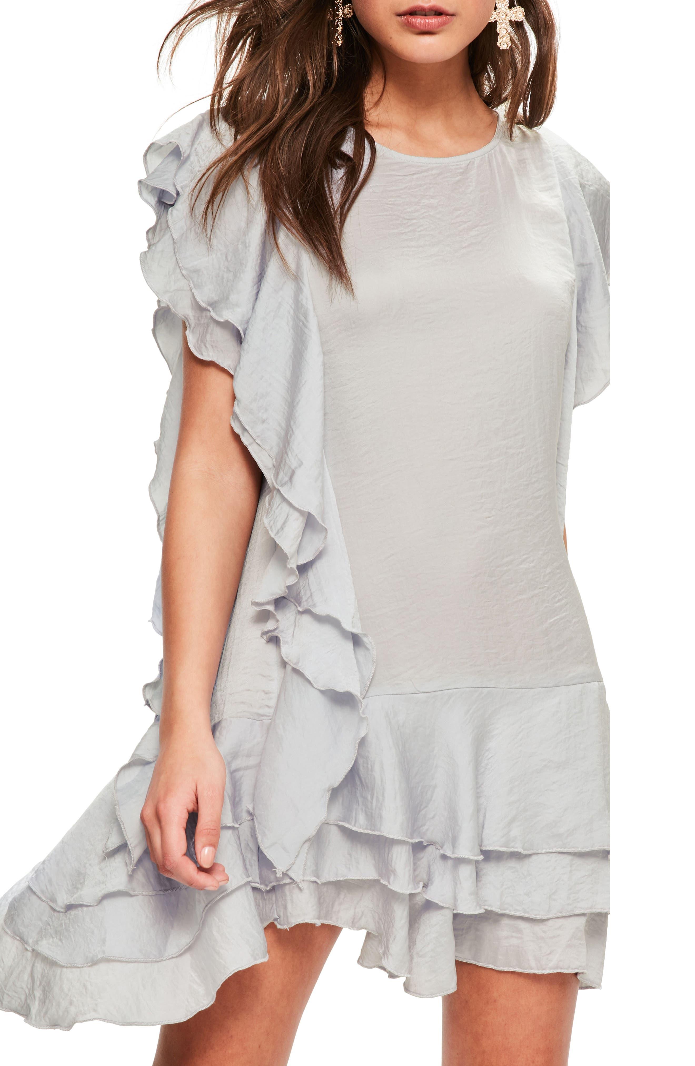 Layered Ruffle Minidress,                             Alternate thumbnail 3, color,                             060
