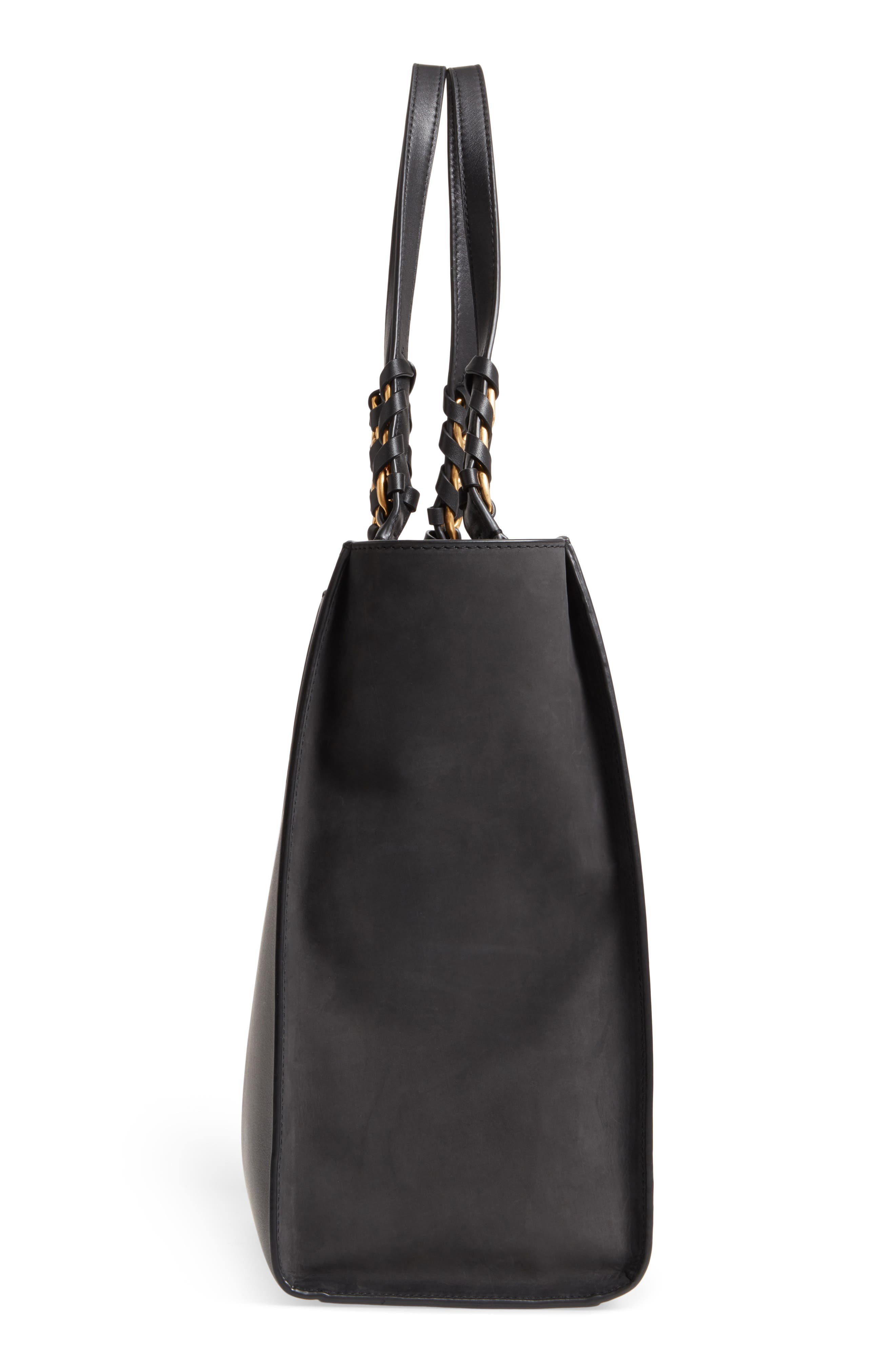 Brooke Leather Tote,                             Alternate thumbnail 5, color,                             001