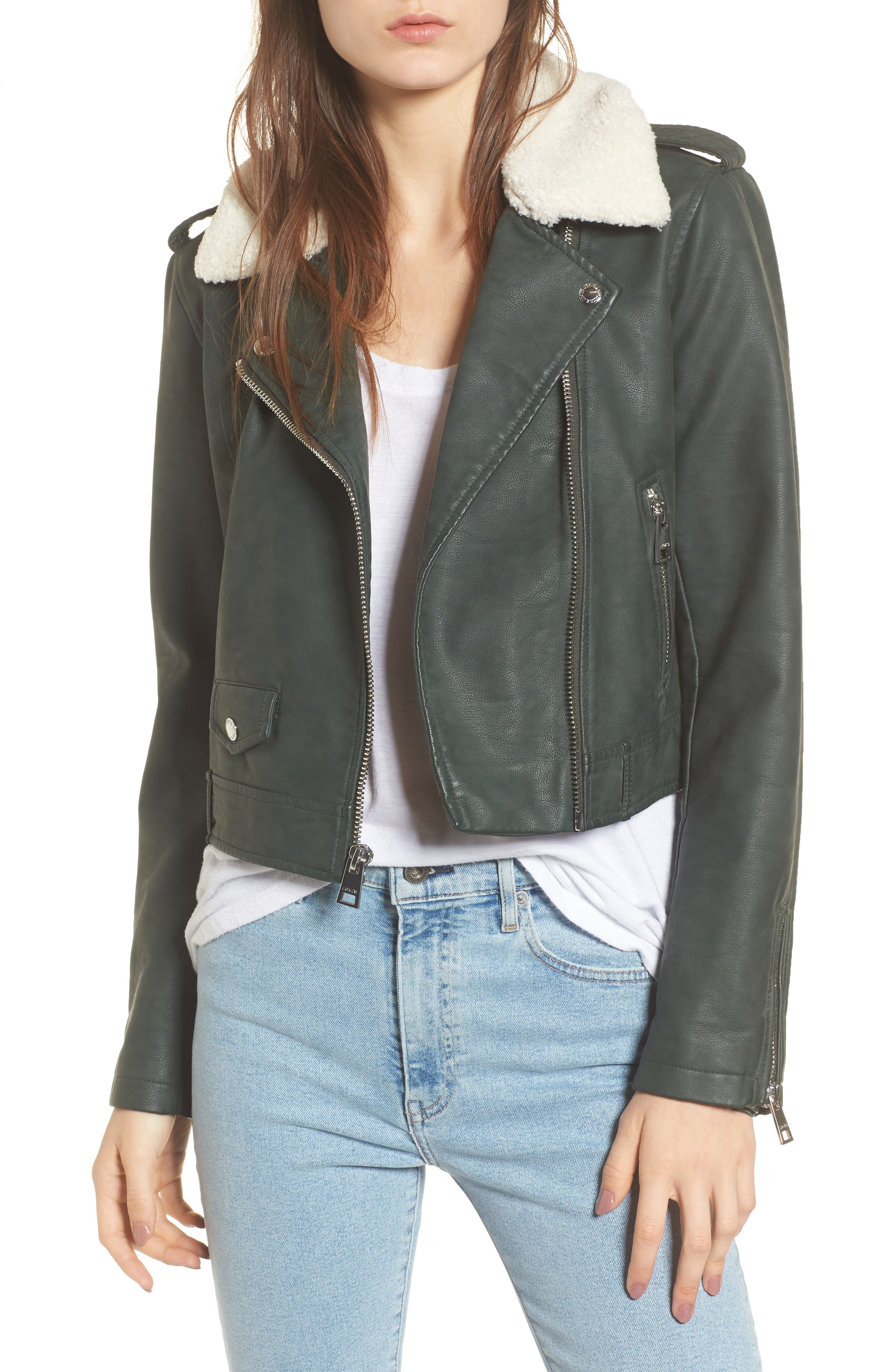 Levis<sup>®</sup> Sherpa Faux Leather Moto Jacket with Faux Fur Collar,                             Main thumbnail 2, color,