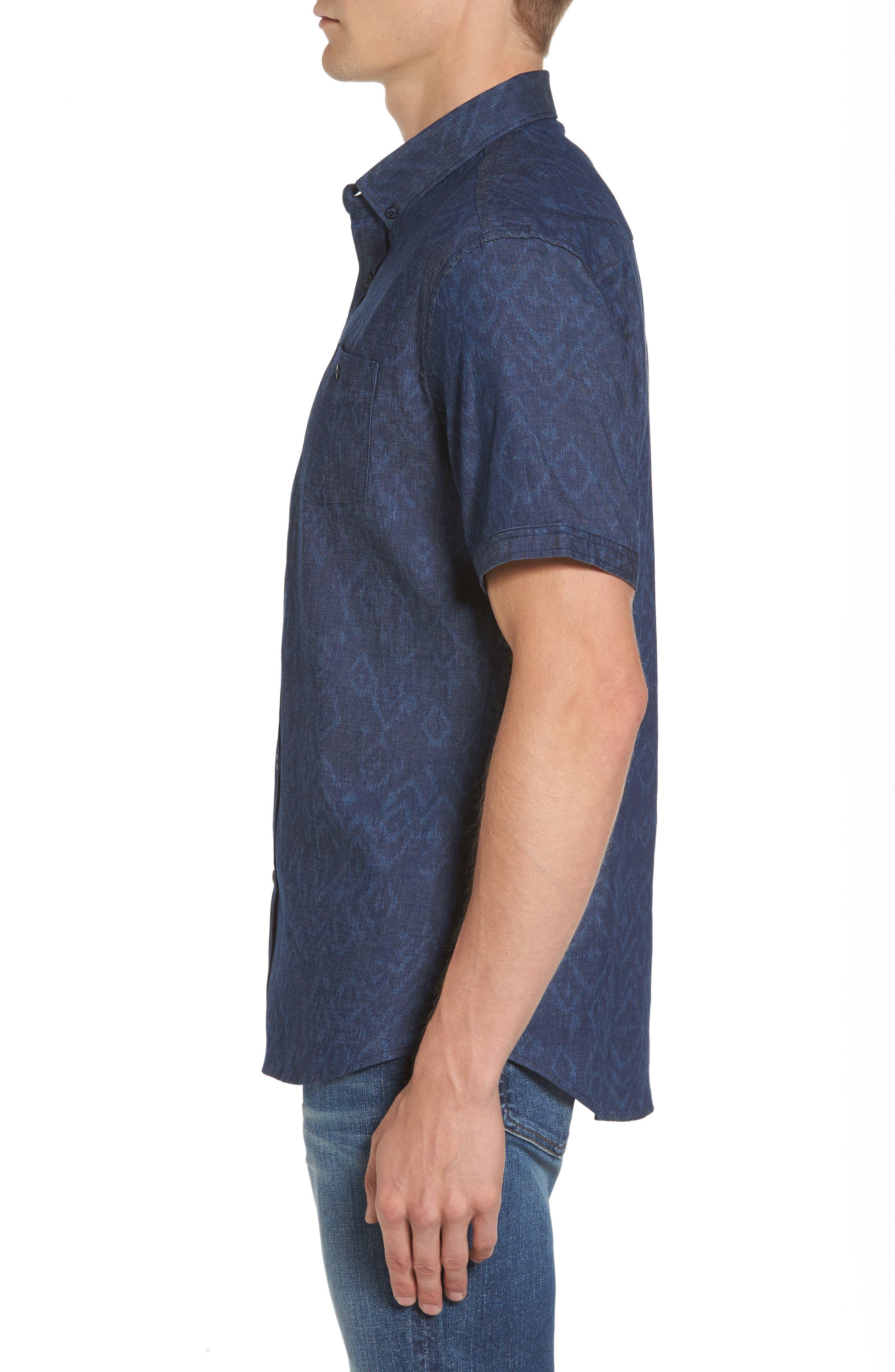 Marquee Moon Print Woven Shirt,                             Alternate thumbnail 3, color,