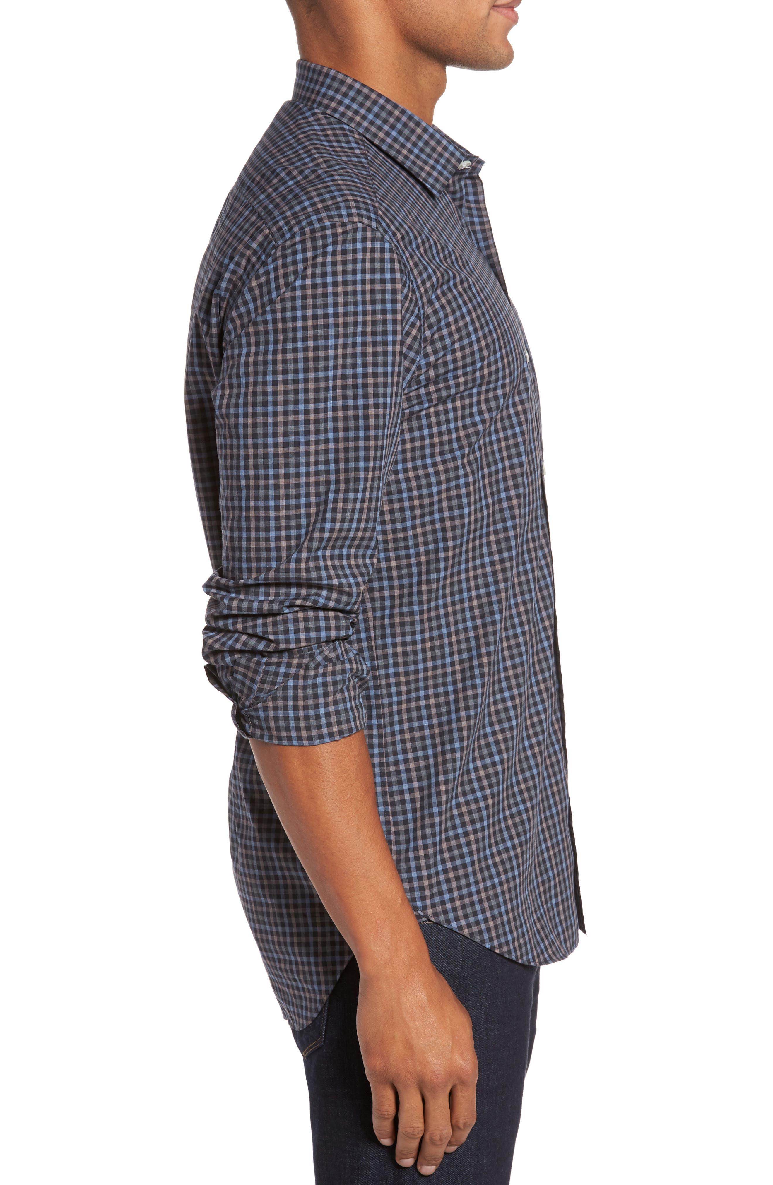 Gingham Shadow Sport Shirt,                             Alternate thumbnail 3, color,