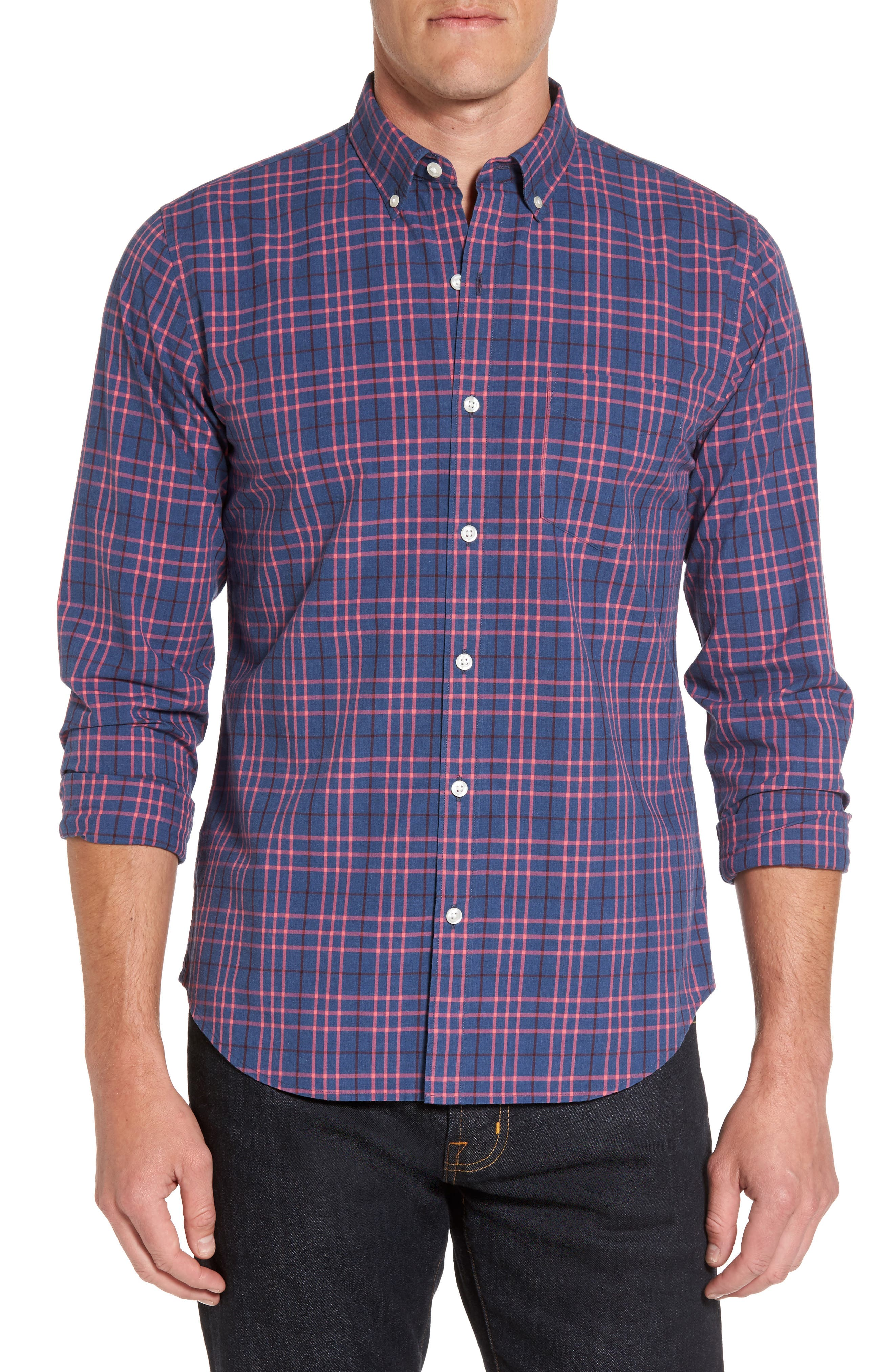 Slim Fit Washed Plaid Sport Shirt,                             Main thumbnail 1, color,
