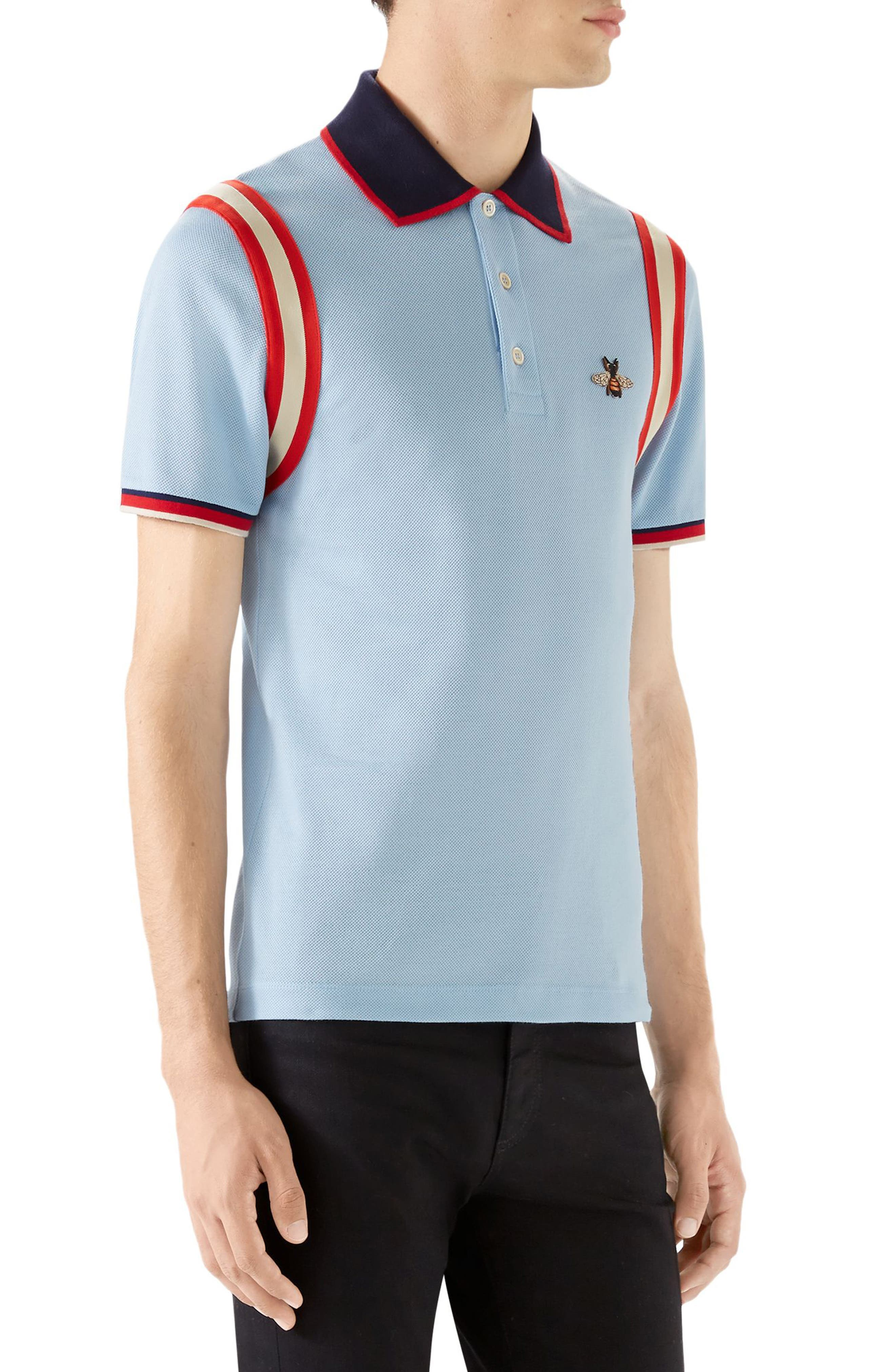 Stripe Sleeve Bee Polo,                             Alternate thumbnail 3, color,                             INK MULTICOLOR