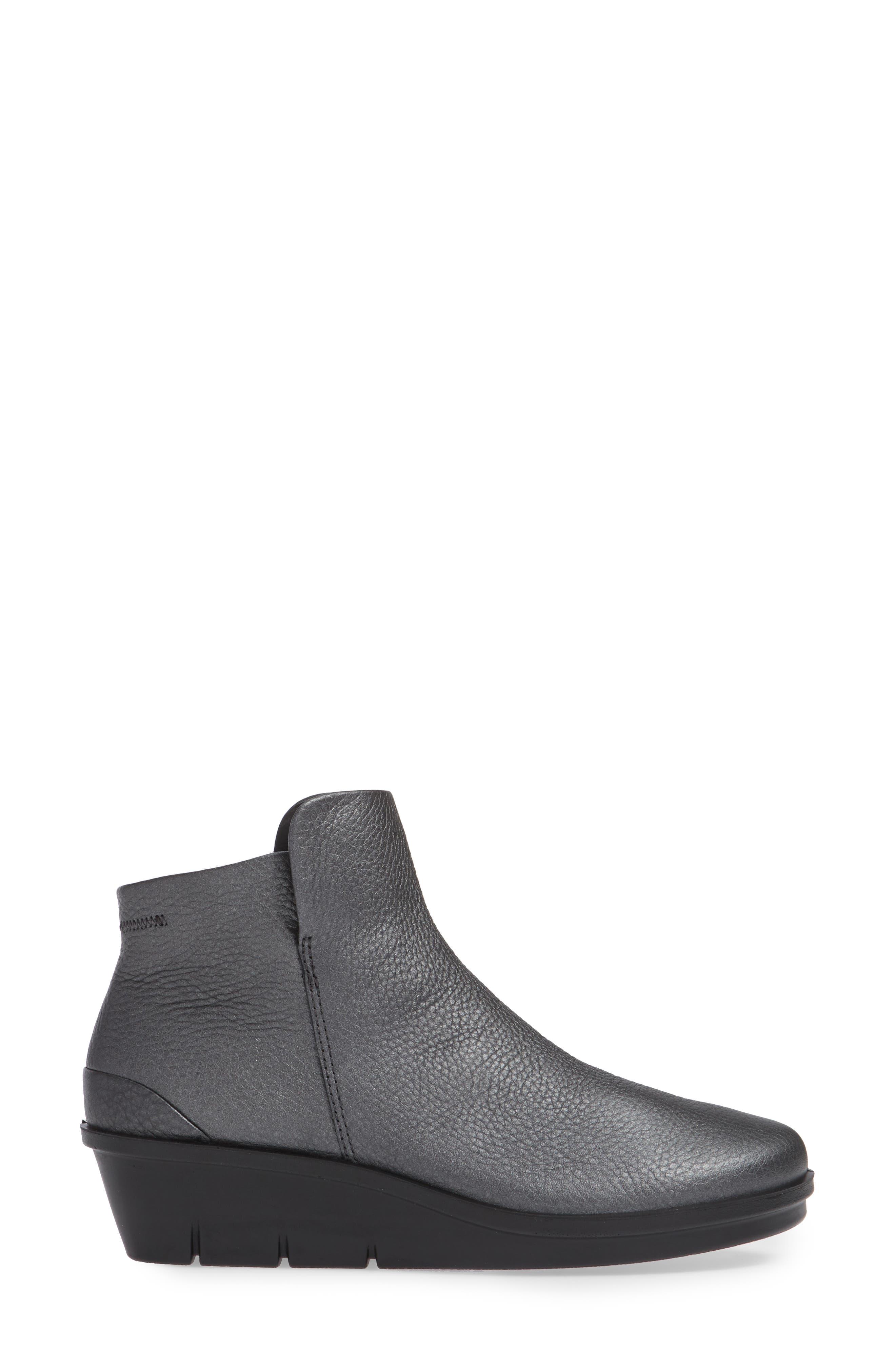 Skyler Wedge Boot,                             Alternate thumbnail 3, color,                             BLACK/ DARK SILVER LEATHER