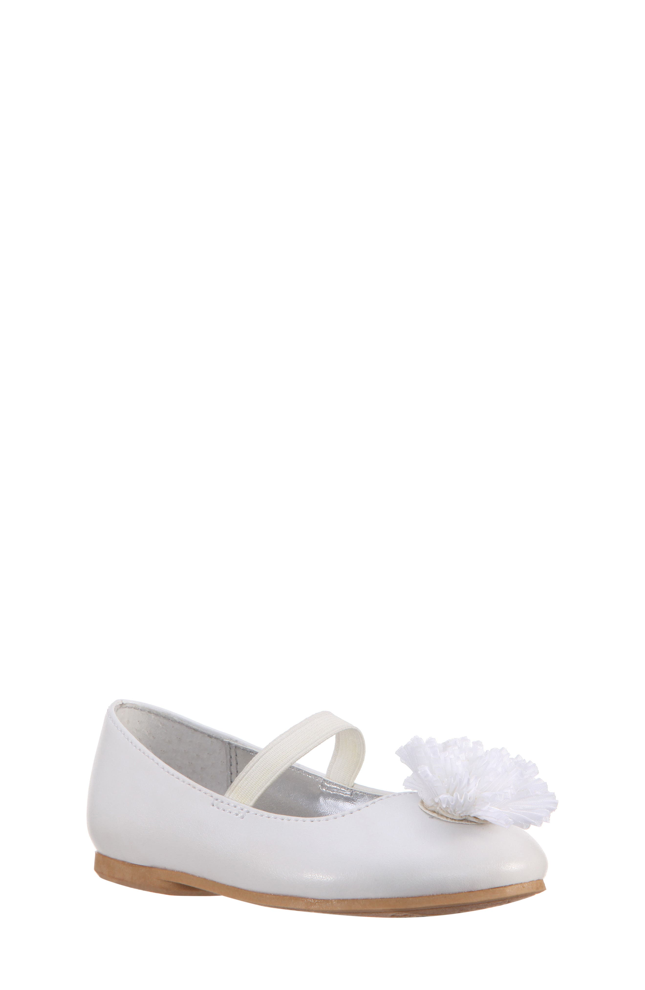 Jemma-T Bow Ballet Flat,                         Main,                         color, WHITE SMOOTH