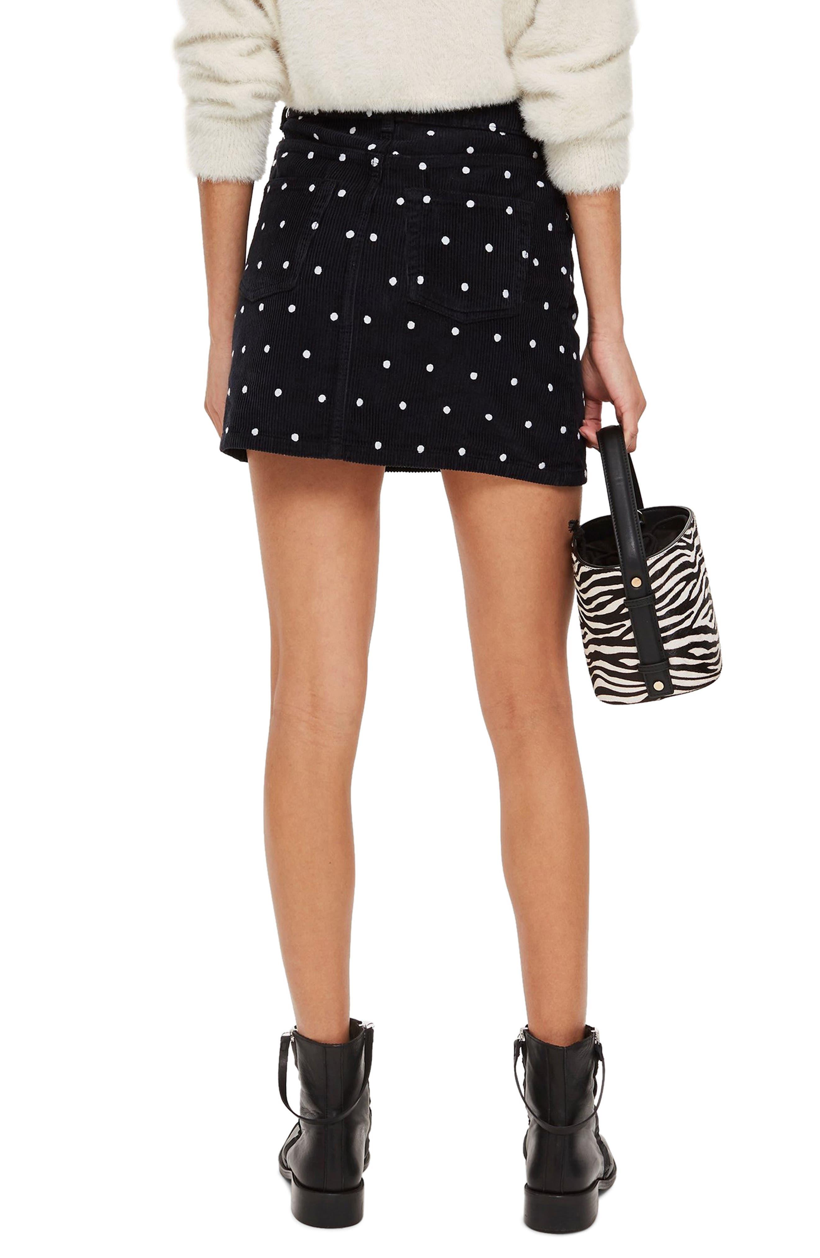 Spot Print Corduroy Skirt,                             Alternate thumbnail 2, color,                             BLACK MULTI