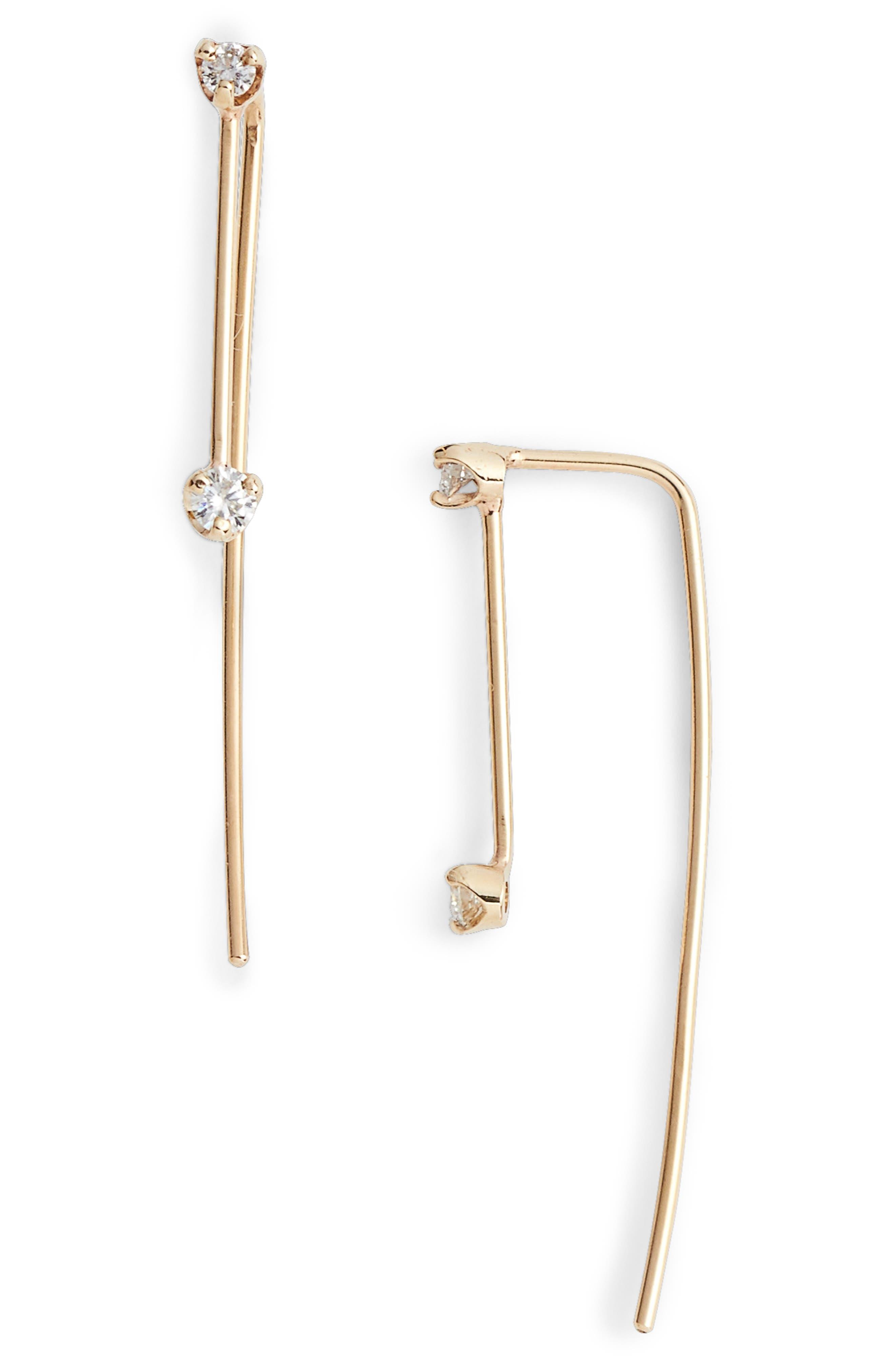 Double Diamond Threader Earrings,                         Main,                         color, YELLOW GOLD
