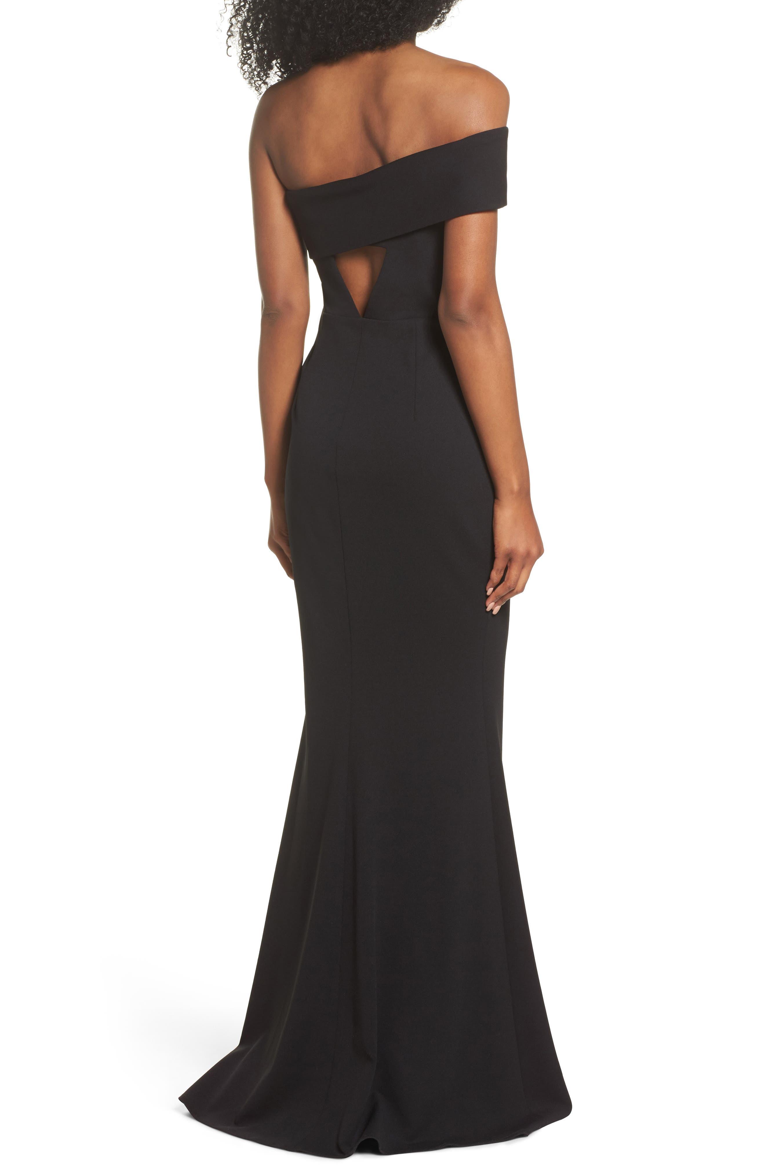 Titan One-Shoulder Cutout Crepe Gown,                             Alternate thumbnail 2, color,                             BLACK