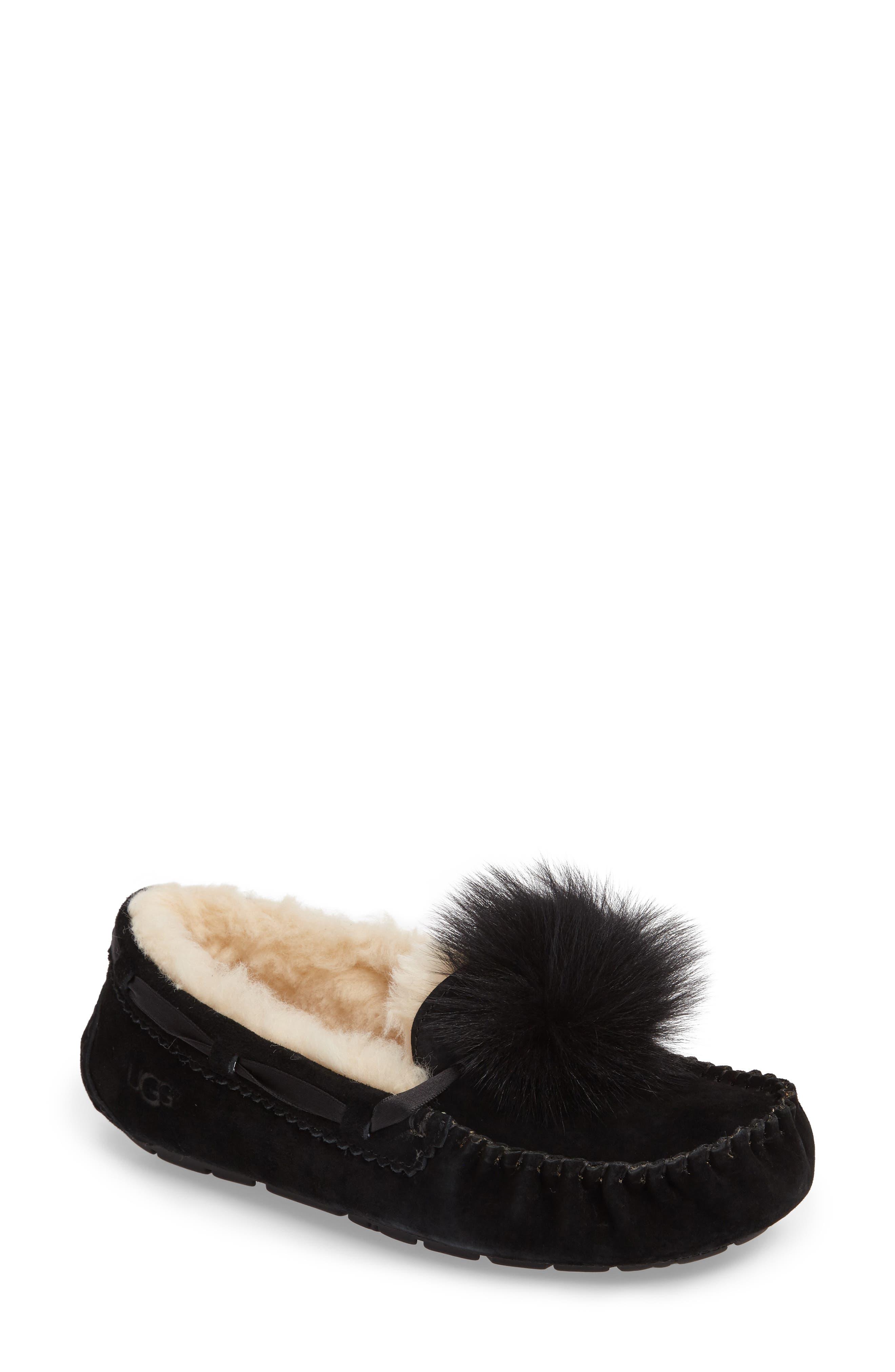 Ugg Dakota Water Resistant Genuine Shearling Pompom Slipper, Black