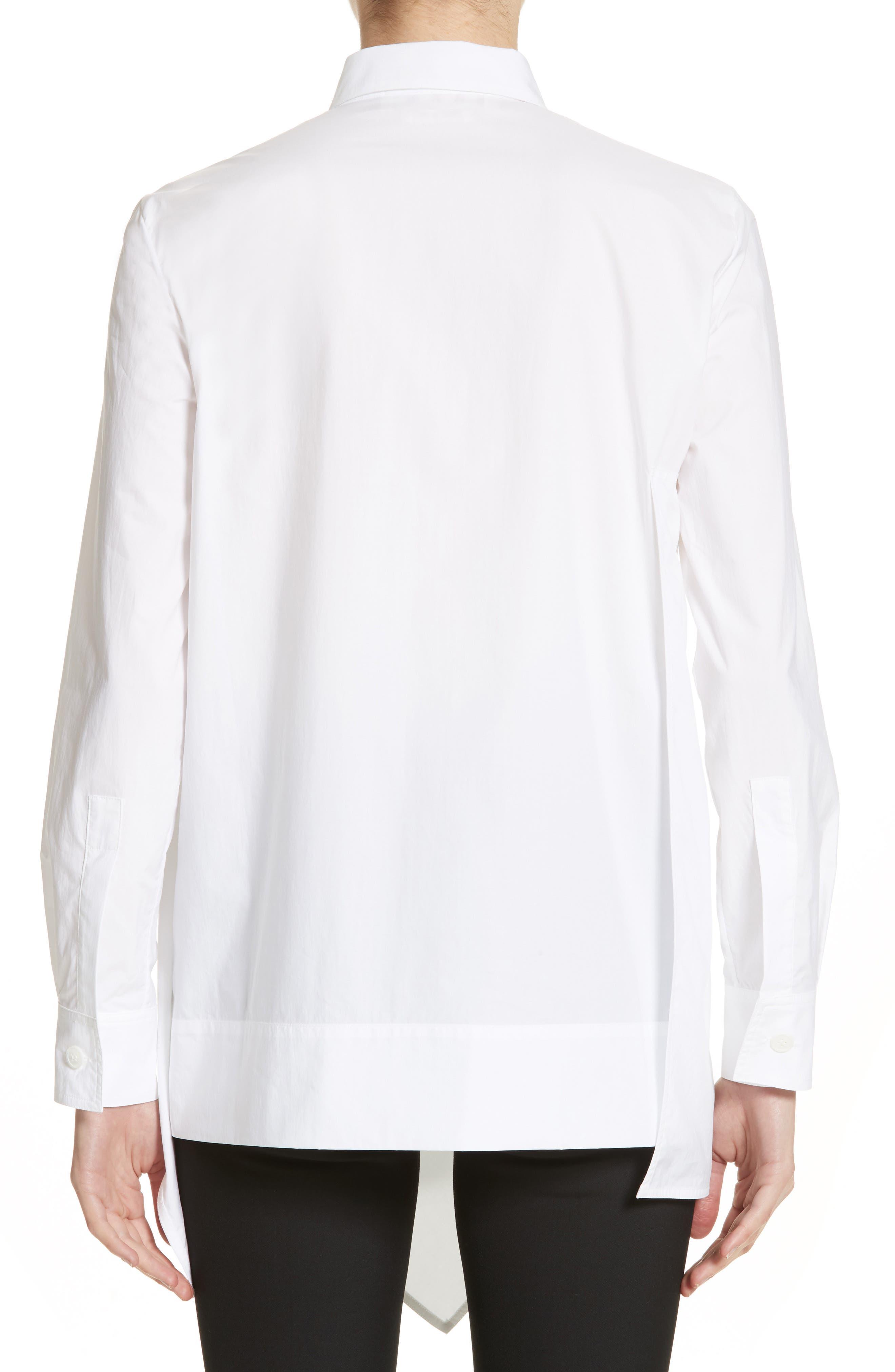 Draped Cotton Poplin Shirt,                             Alternate thumbnail 2, color,                             100