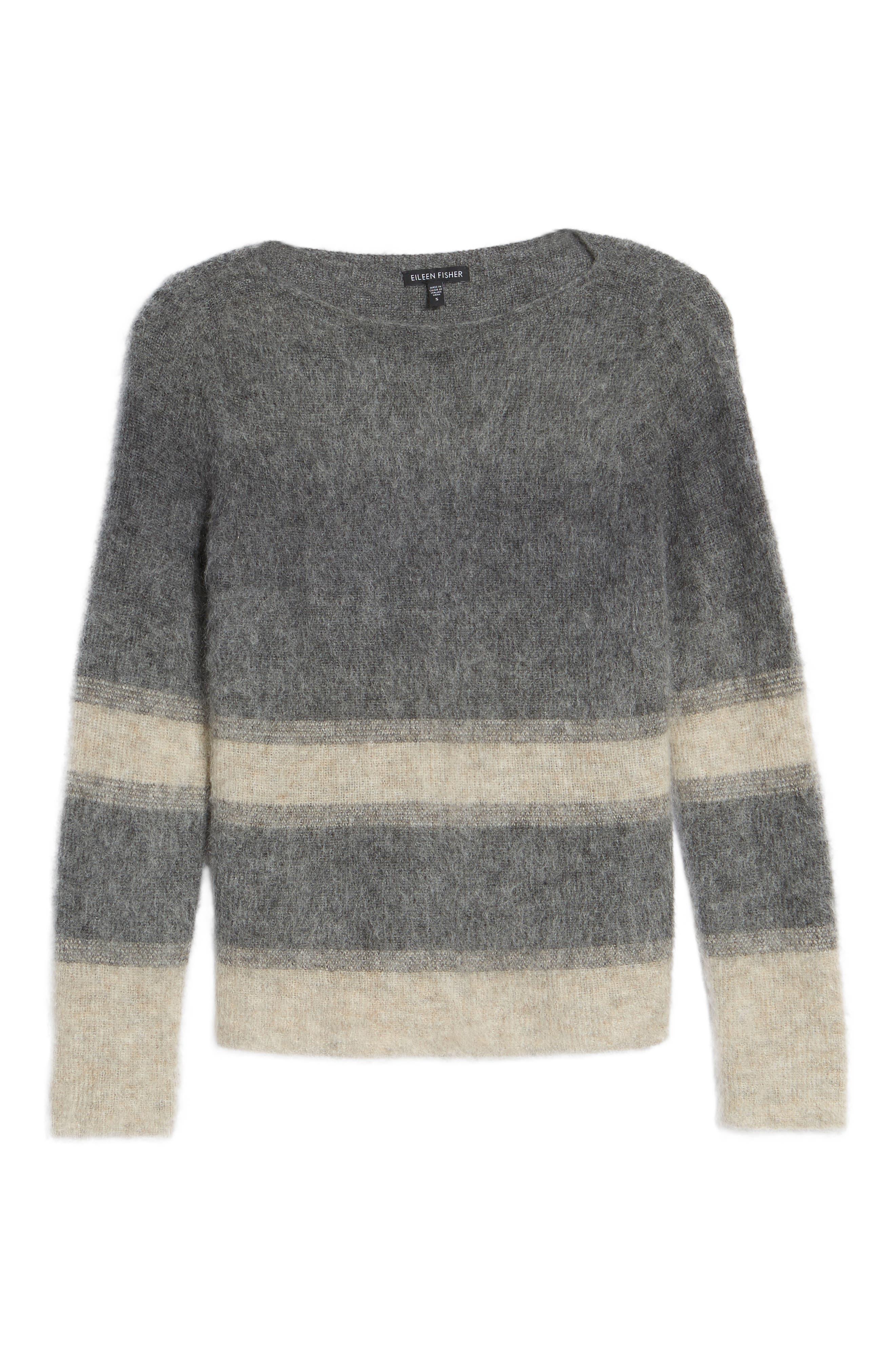 Stripe Mohair & Alpaca Blend Bateau Neck Sweater,                             Alternate thumbnail 6, color,