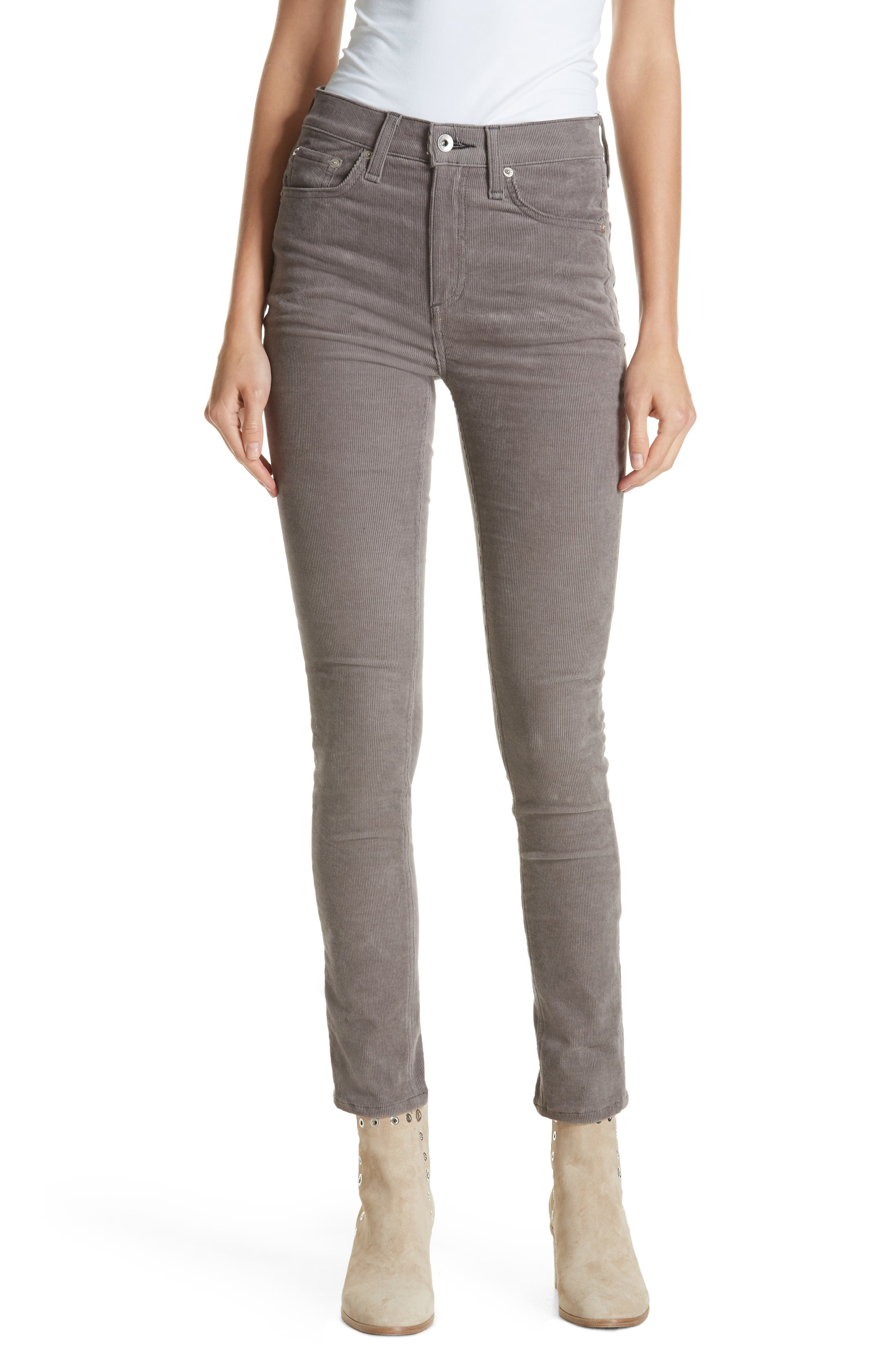 rag & bone High Waist Ankle Skinny Corduroy Pants,                         Main,                         color, 021