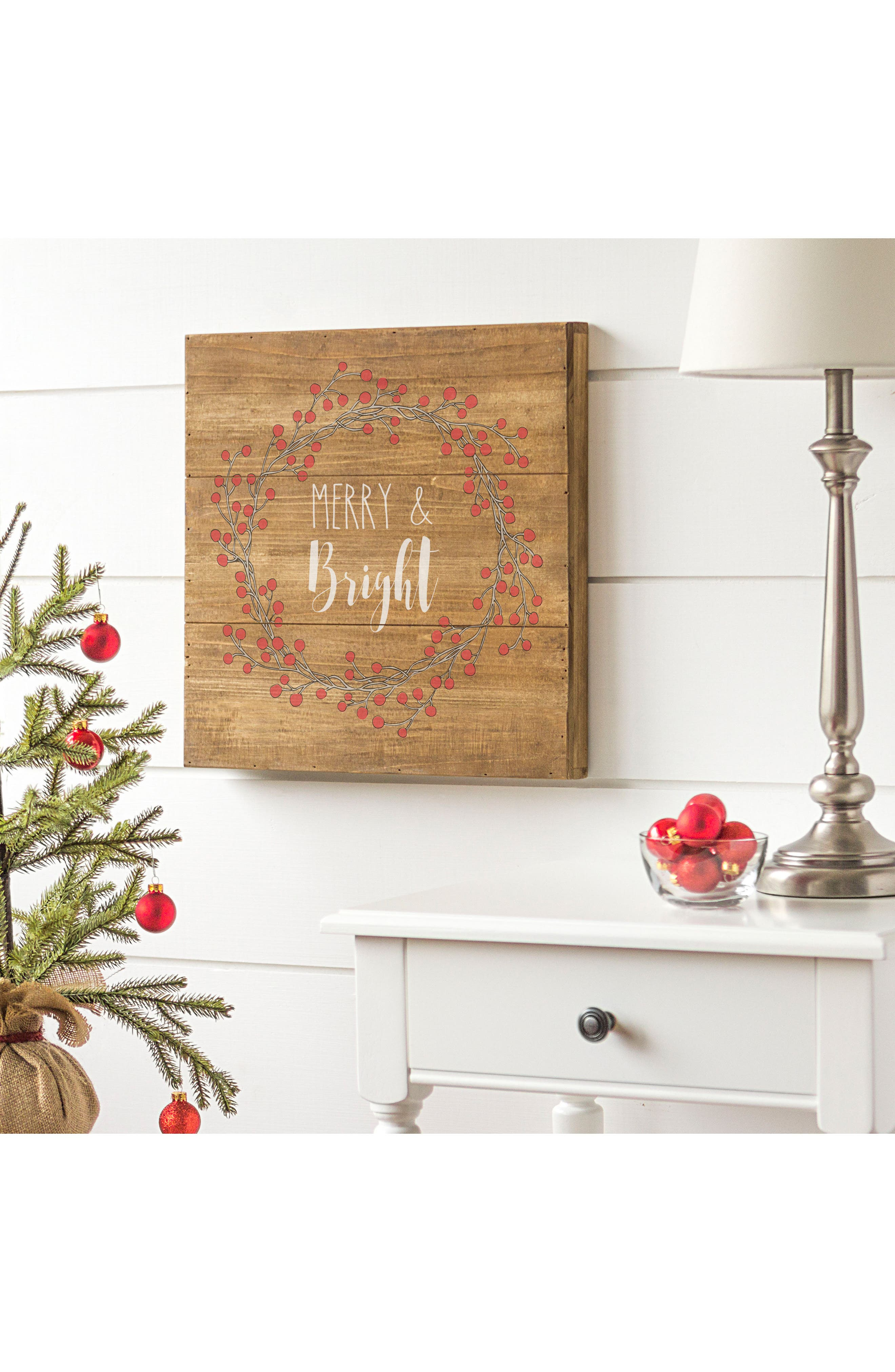 Merry & Bright Wood Sign,                             Alternate thumbnail 2, color,