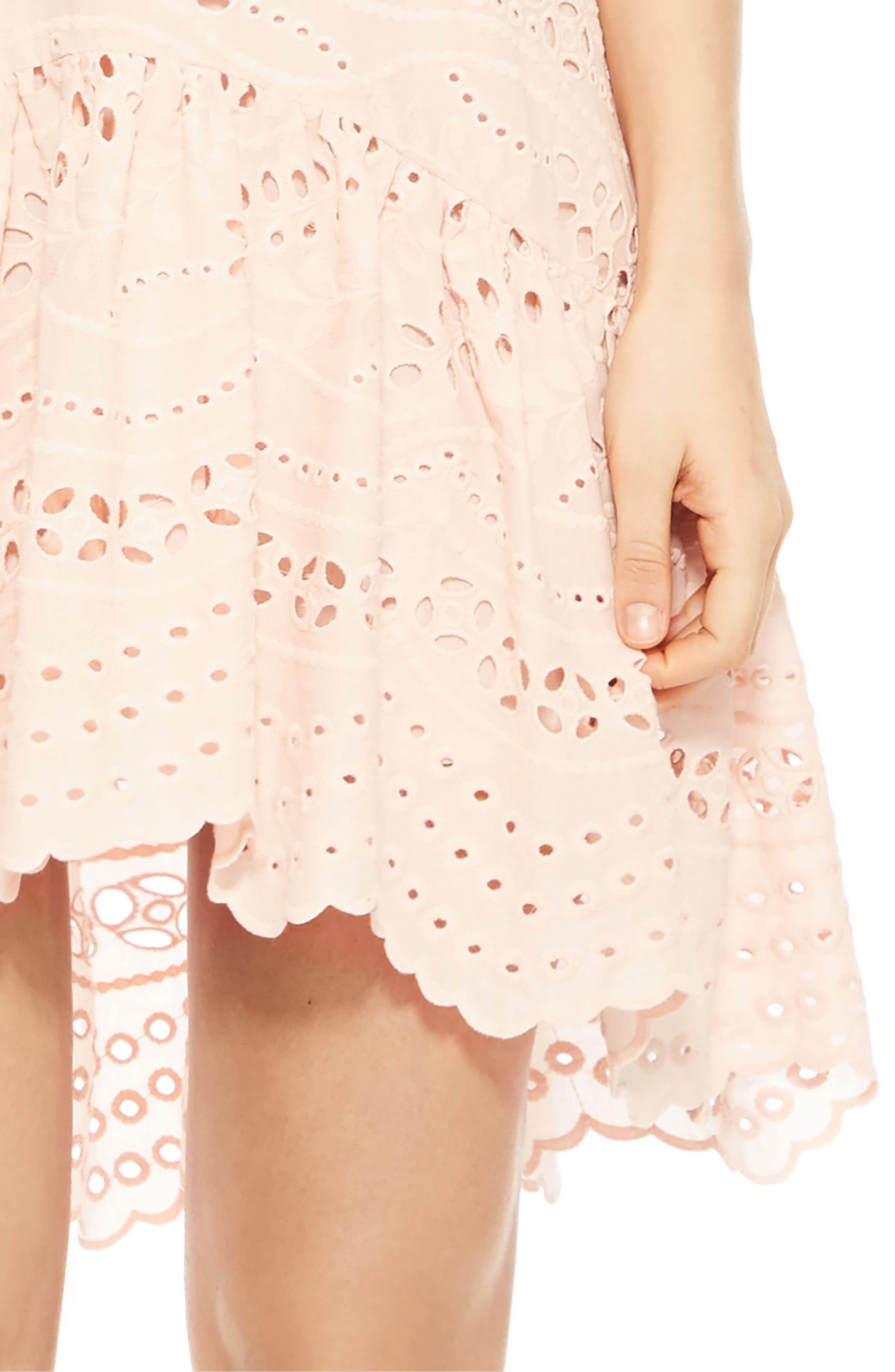 Odysseia Eyelet Cotton Dress,                             Alternate thumbnail 4, color,                             695