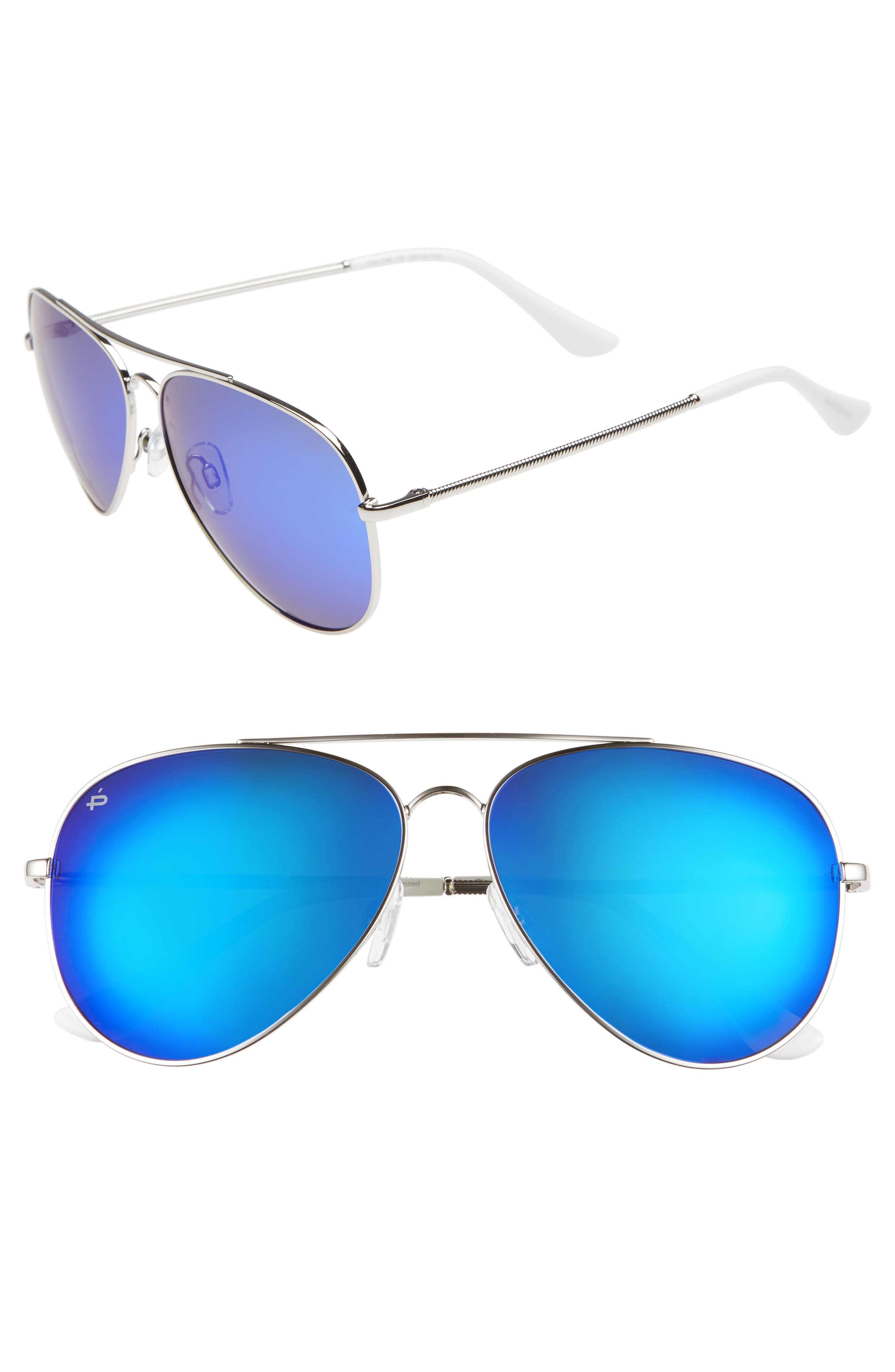 Privé Revaux The Cali Polarized 59mm Sunglasses,                         Main,                         color, NICKEL SILVER