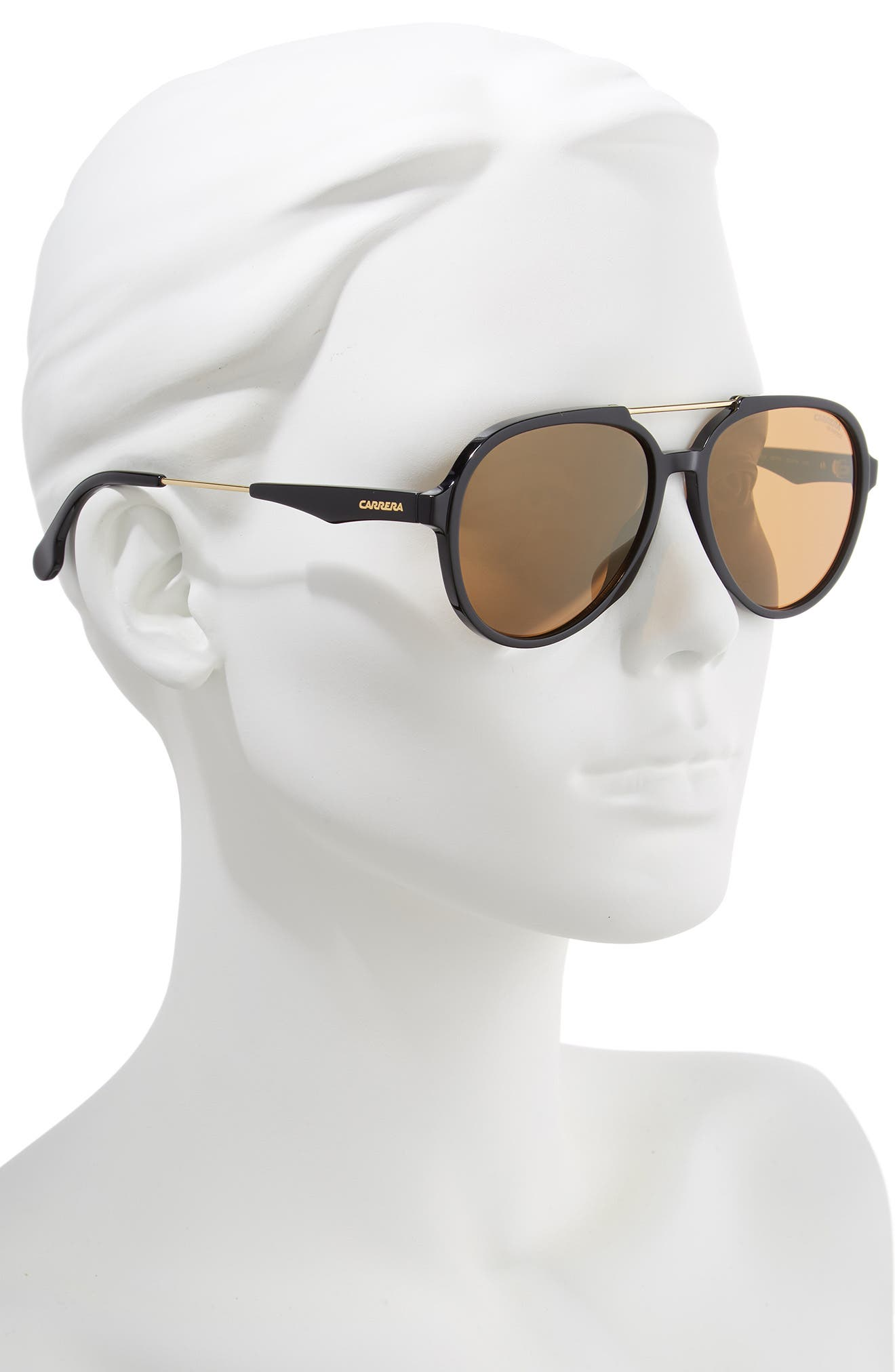 56mm Aviator Sunglasses,                             Alternate thumbnail 2, color,                             BLACK