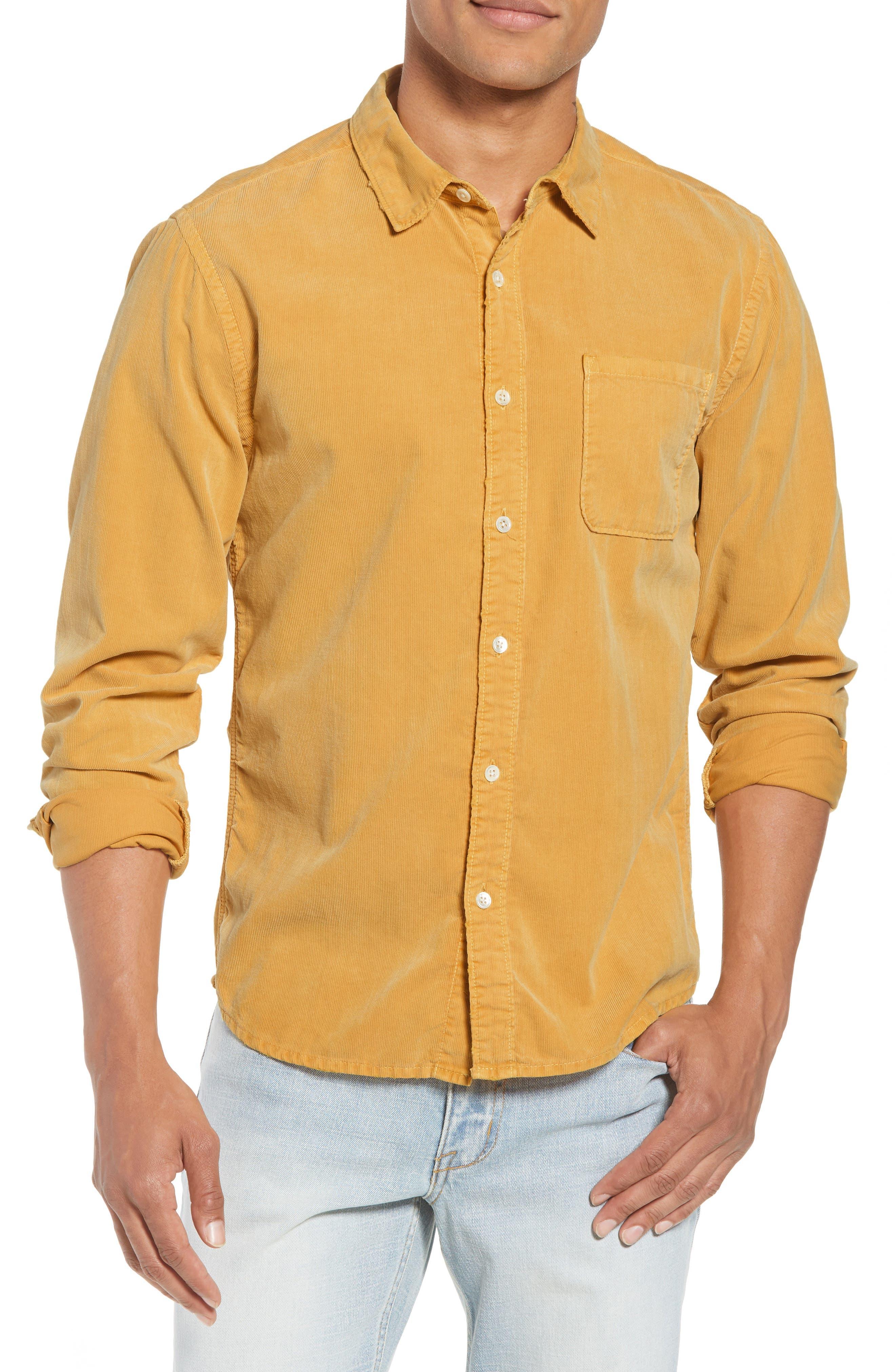 Slim Fit Corduroy Shirt,                             Main thumbnail 1, color,                             FADED GOLDEN GLOW