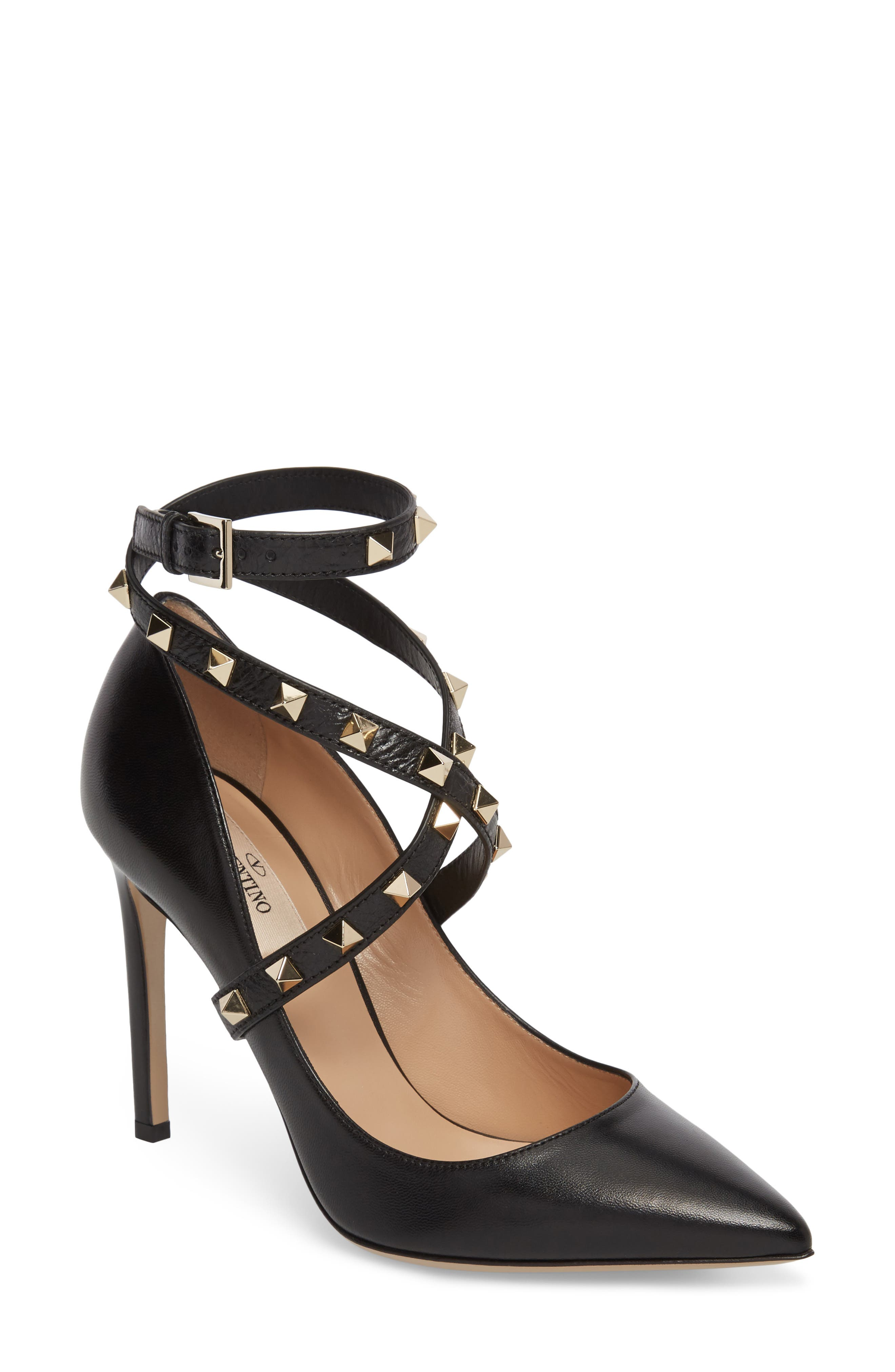 Rockstud Wrap Pump,                             Main thumbnail 1, color,                             BLACK