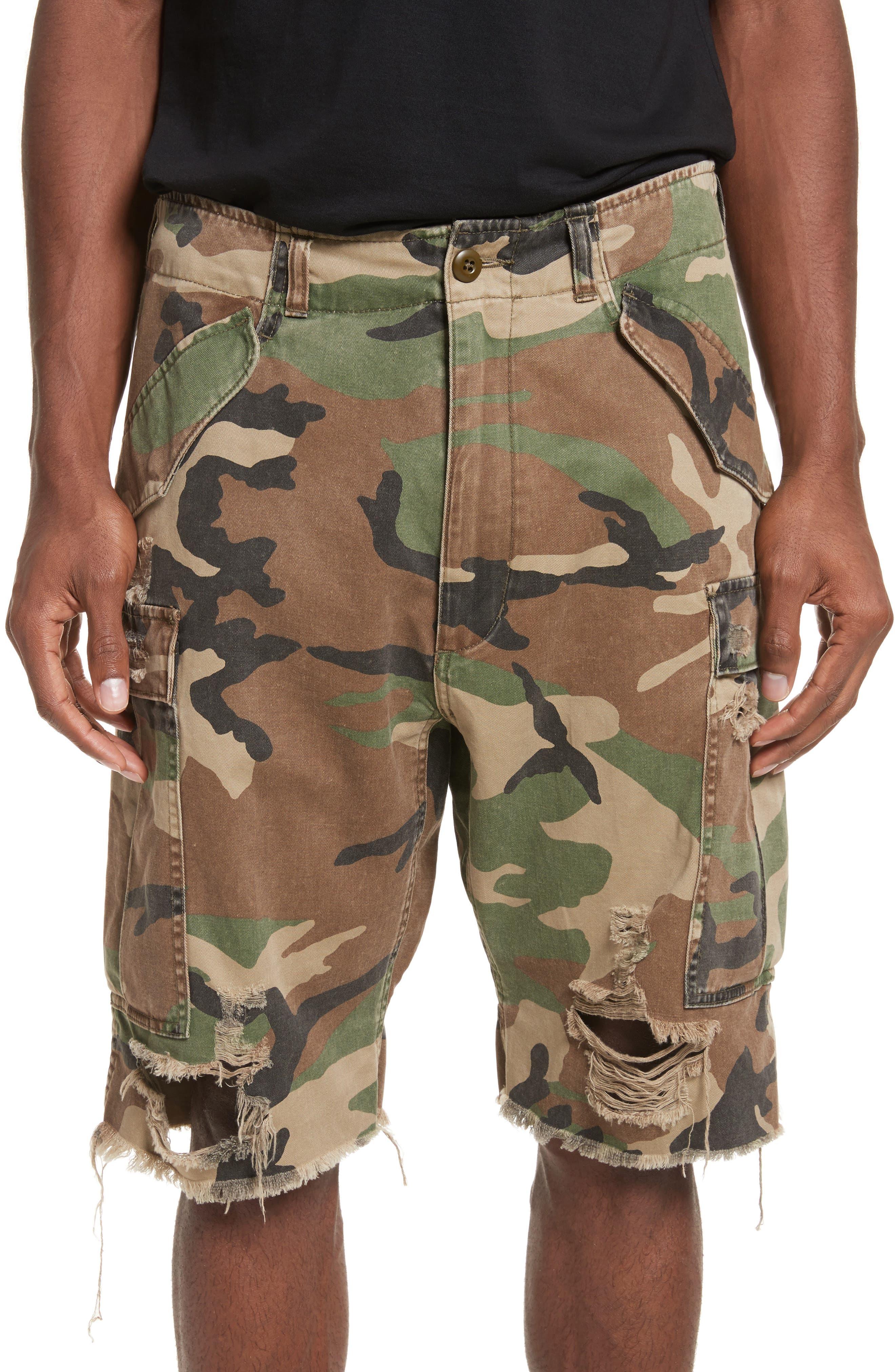 Surplus Shredded Camo Cargo Shorts,                             Main thumbnail 1, color,                             325