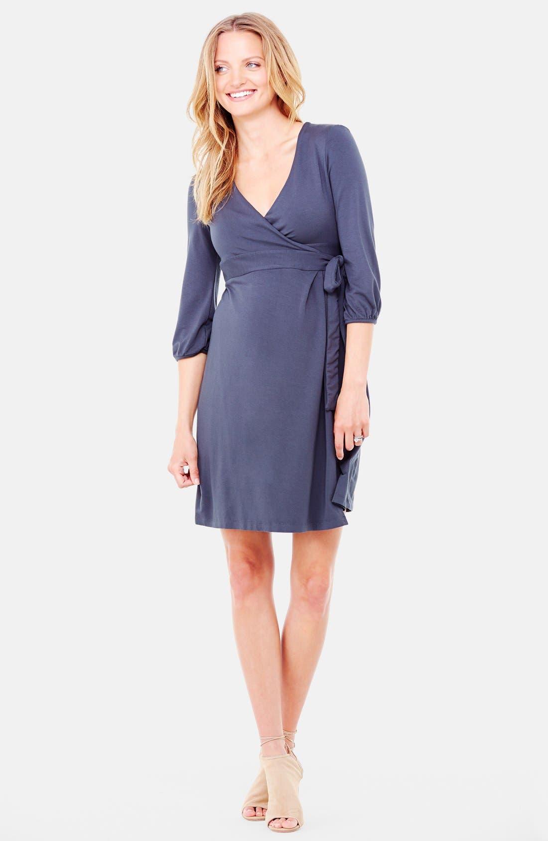 Nursing Friendly Maternity Wrap Dress,                         Main,                         color,