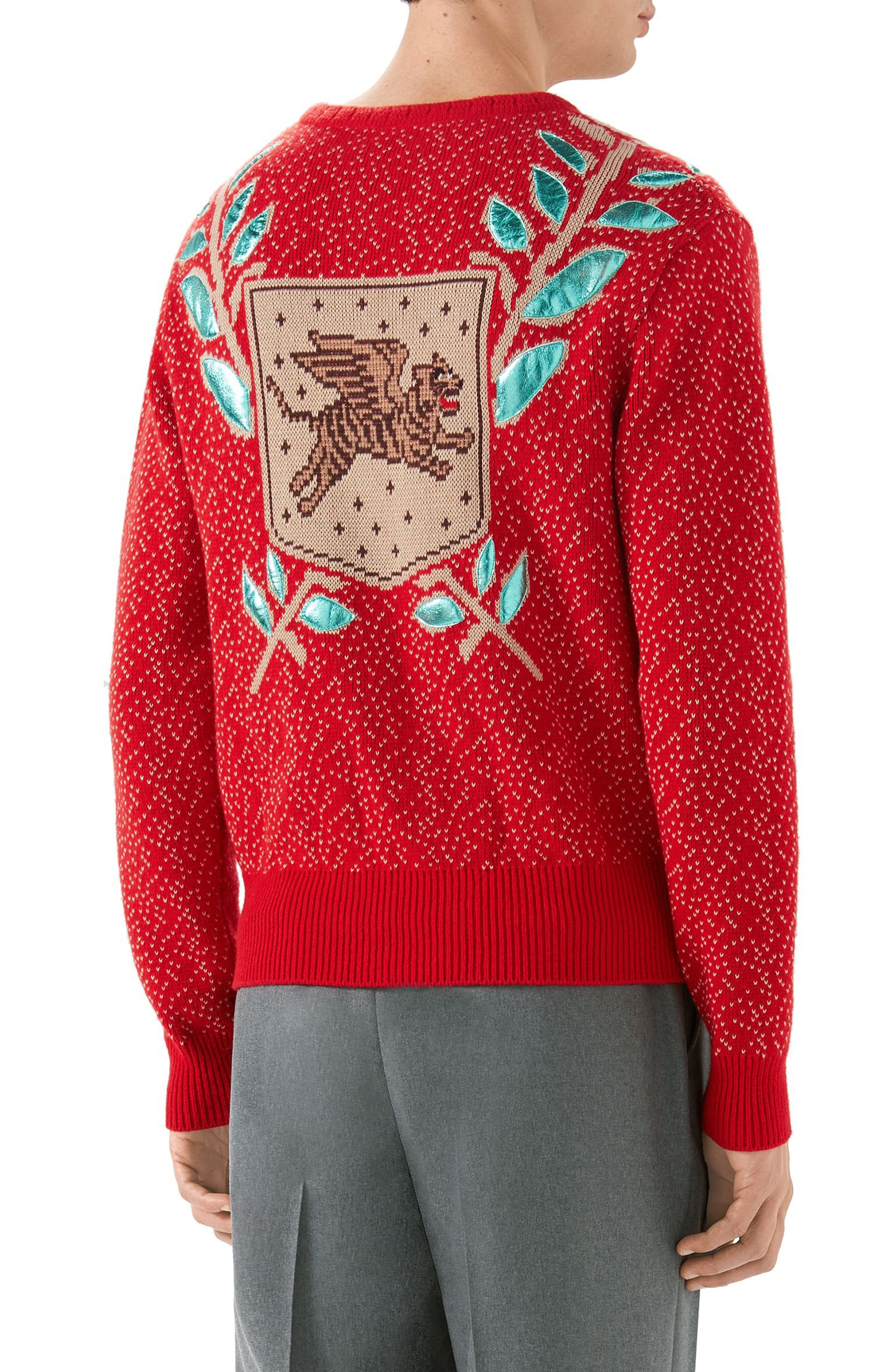 Jacquard Wool Blend Sweater,                             Alternate thumbnail 2, color,                             LIVE RED