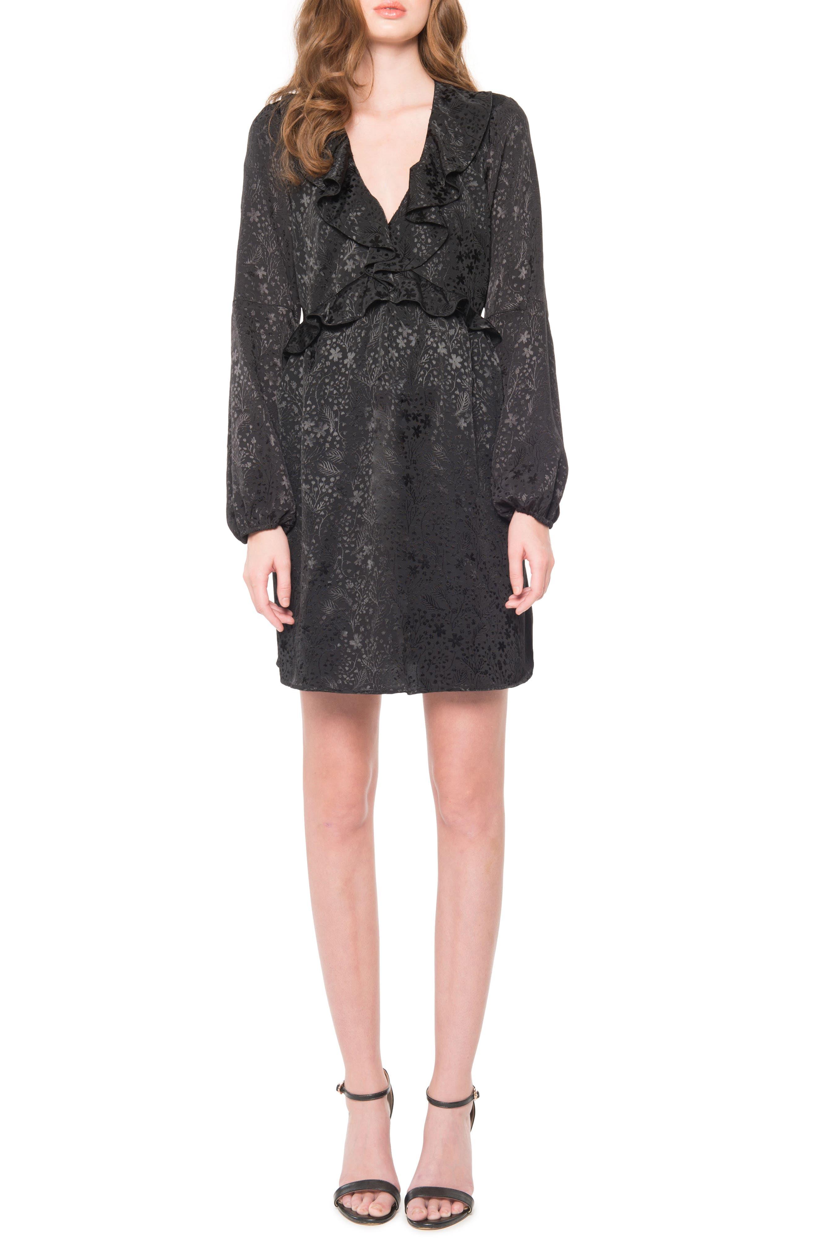 Open Back Ruffle Dress,                             Main thumbnail 1, color,                             001