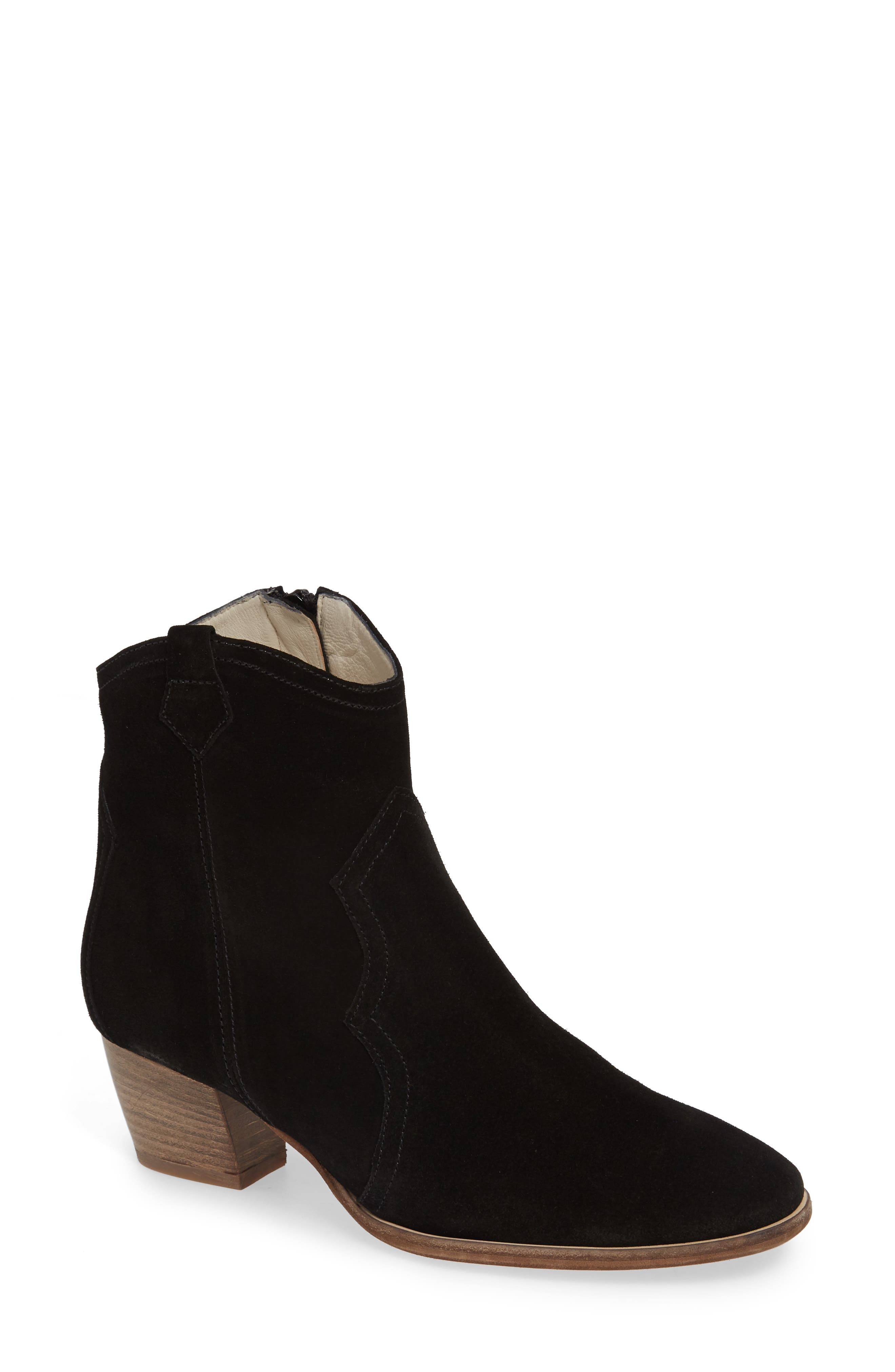 Raggio Western Bootie,                             Main thumbnail 1, color,                             BLACK VELOUR SUEDE