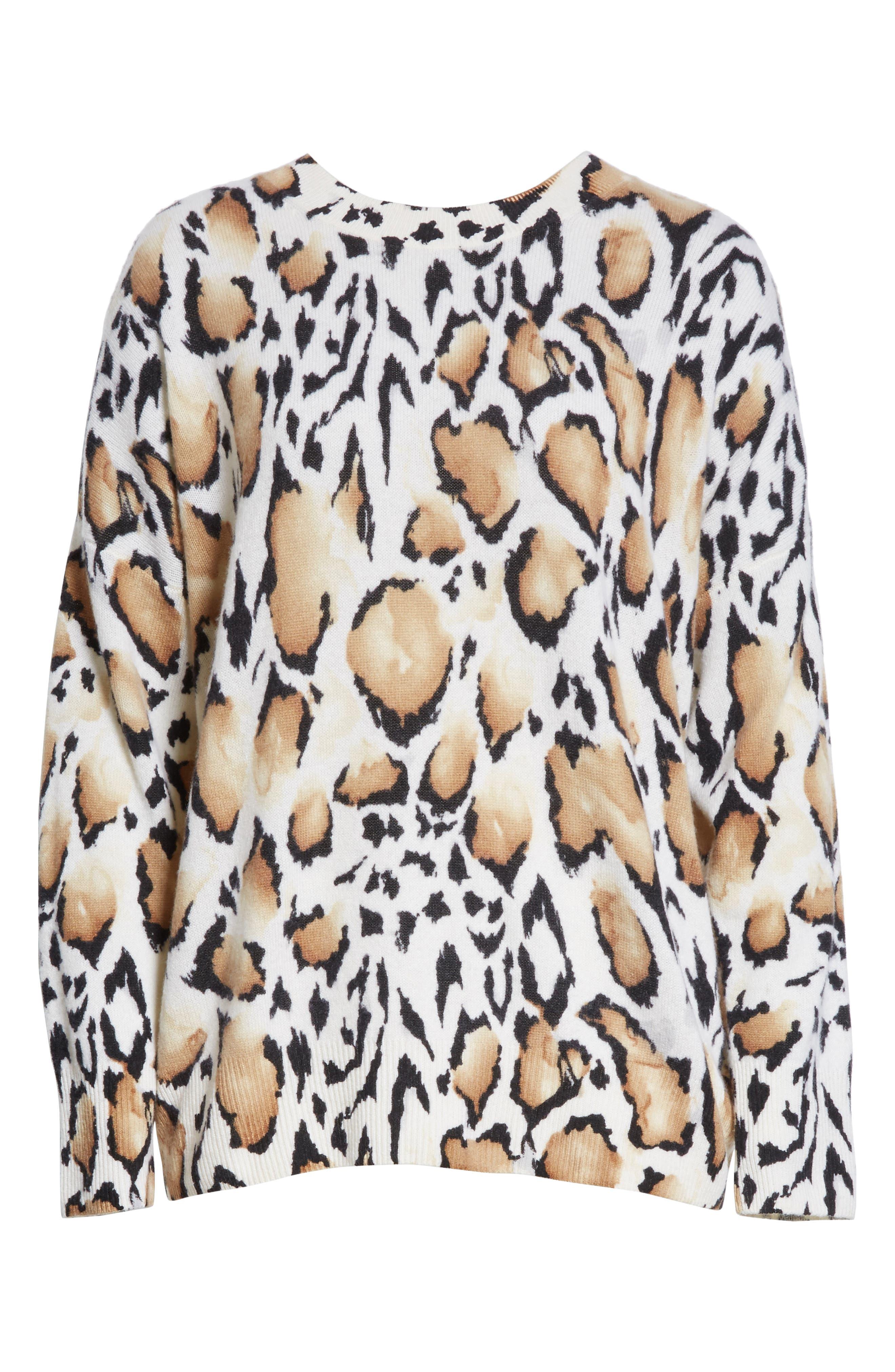 Melanie Clouded Leopard Print Cashmere Sweater,                             Alternate thumbnail 6, color,                             188