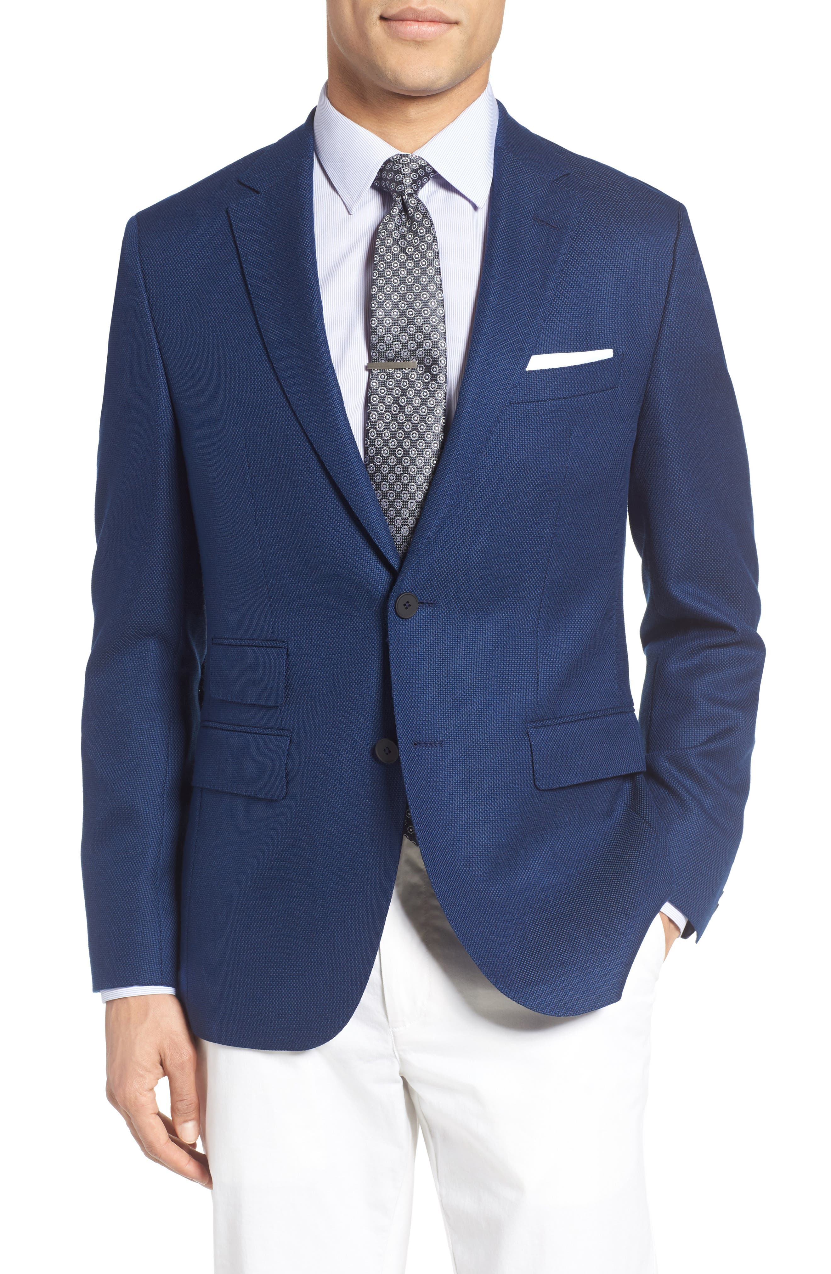 ZZDNUHUGO BOSS BOSS Jet Trim Fit Stretch Wool Travel Blazer, Main, color, 420