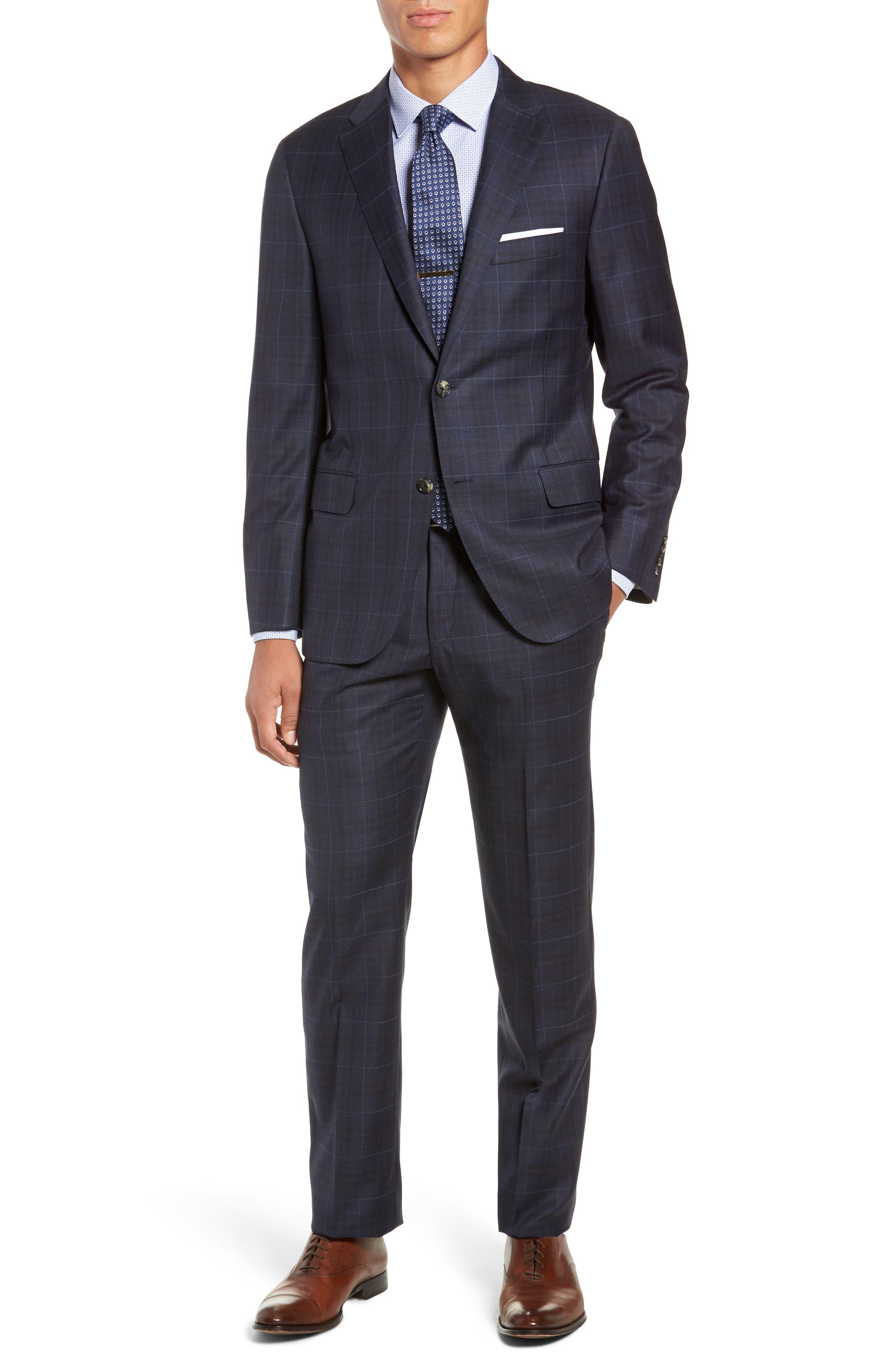 Classic Fit Plaid Wool Suit,                             Main thumbnail 1, color,                             DARK BLUE