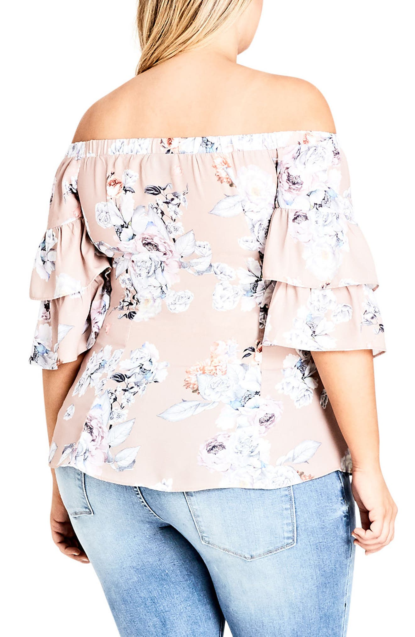 Floral Print Off the Shoulder Top,                             Alternate thumbnail 2, color,                             PAPER FLORAL