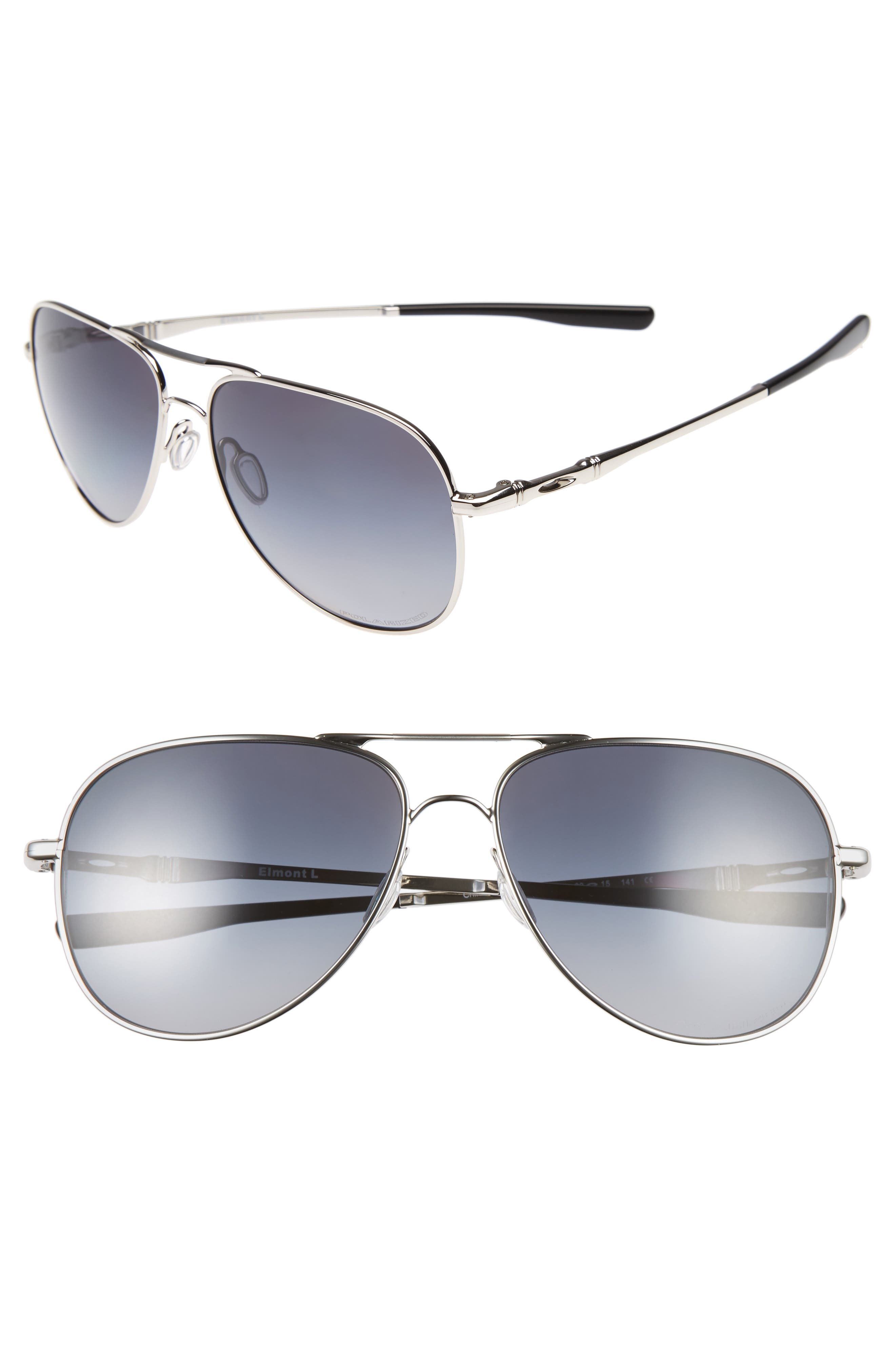 Elmont 61mm Polarized Aviator Sunglasses,                             Main thumbnail 1, color,                             SILVER
