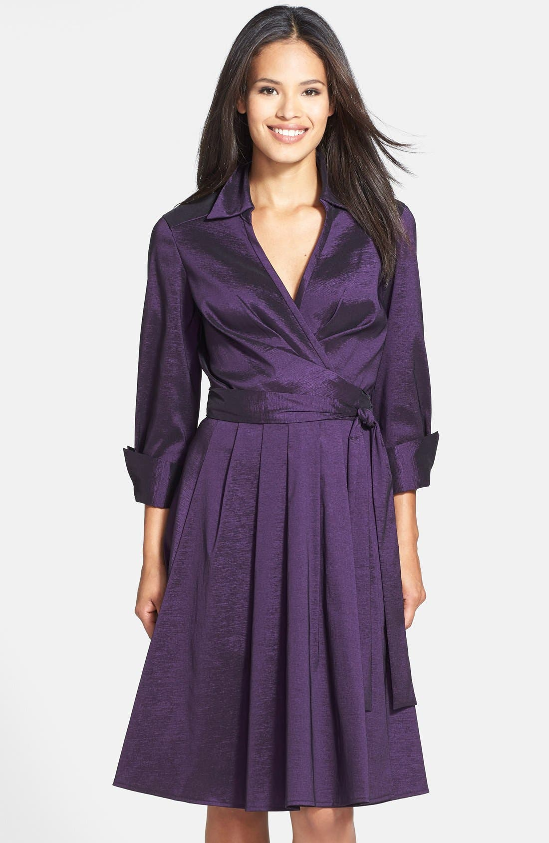 Taffeta Wrap Dress, Main, color, 502