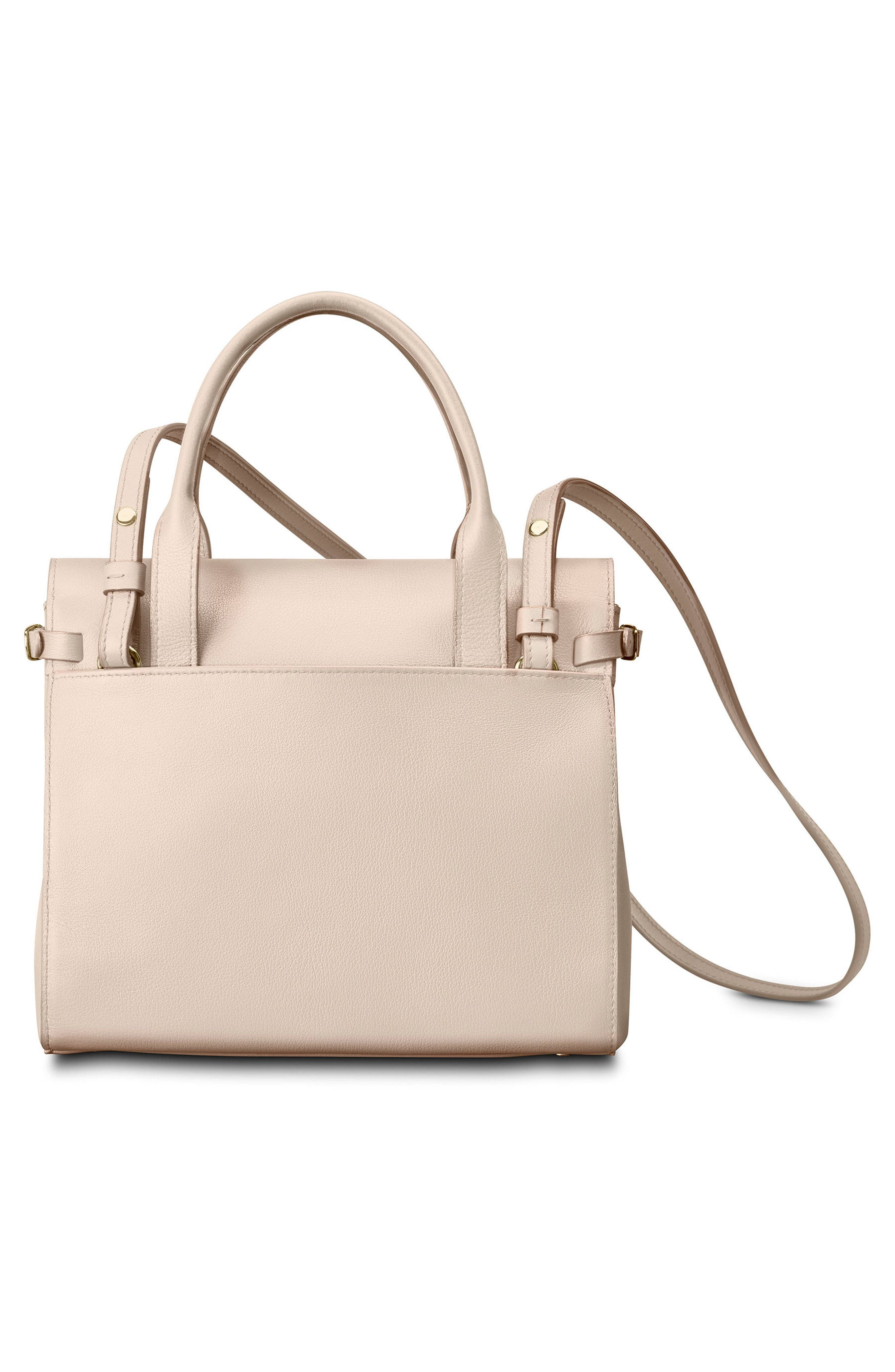 Small Grained Leather Satchel,                             Alternate thumbnail 3, color,                             SOFT BLUSH