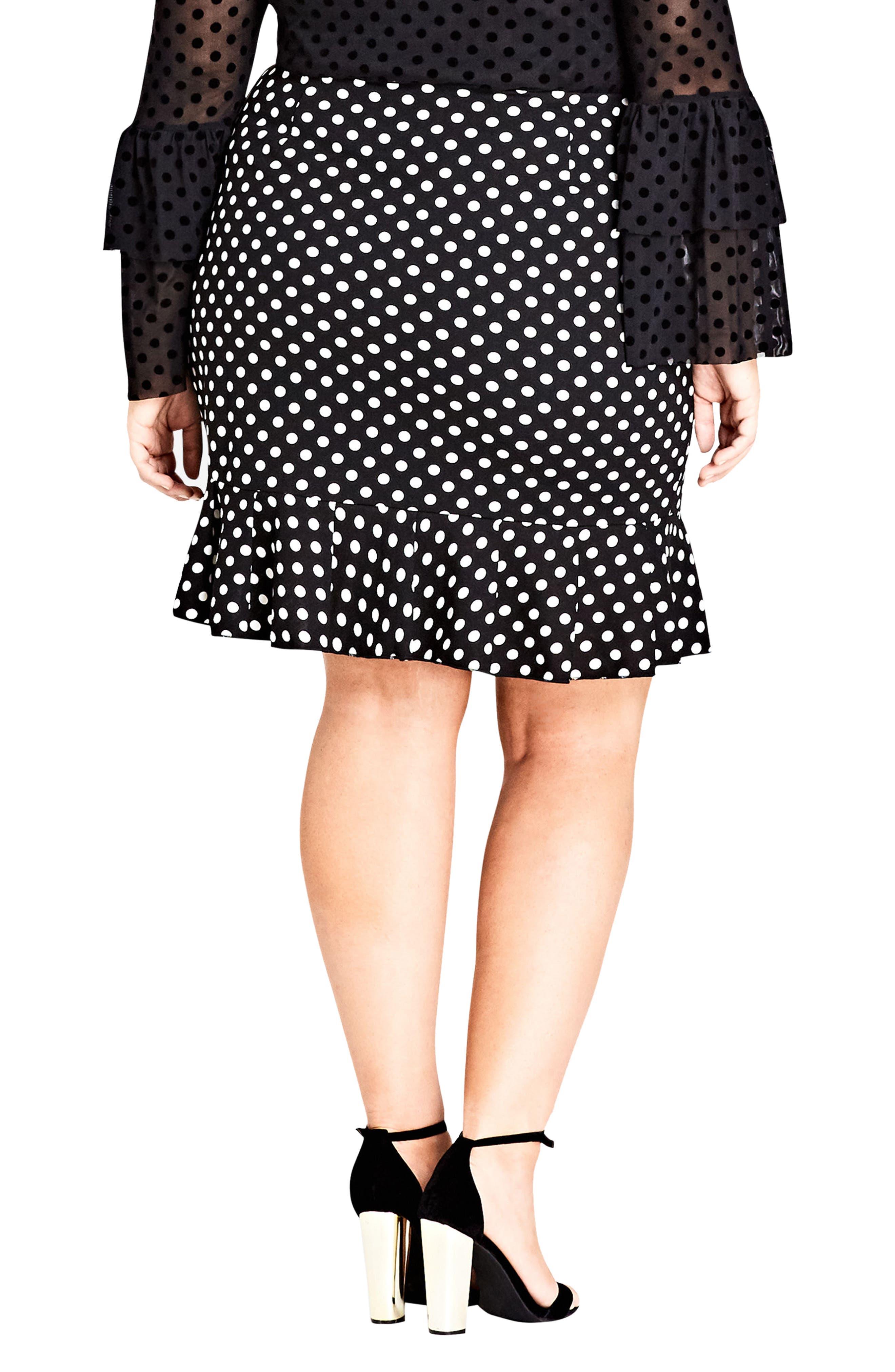Spot Frill Skirt,                             Alternate thumbnail 2, color,                             BLACK SPOT