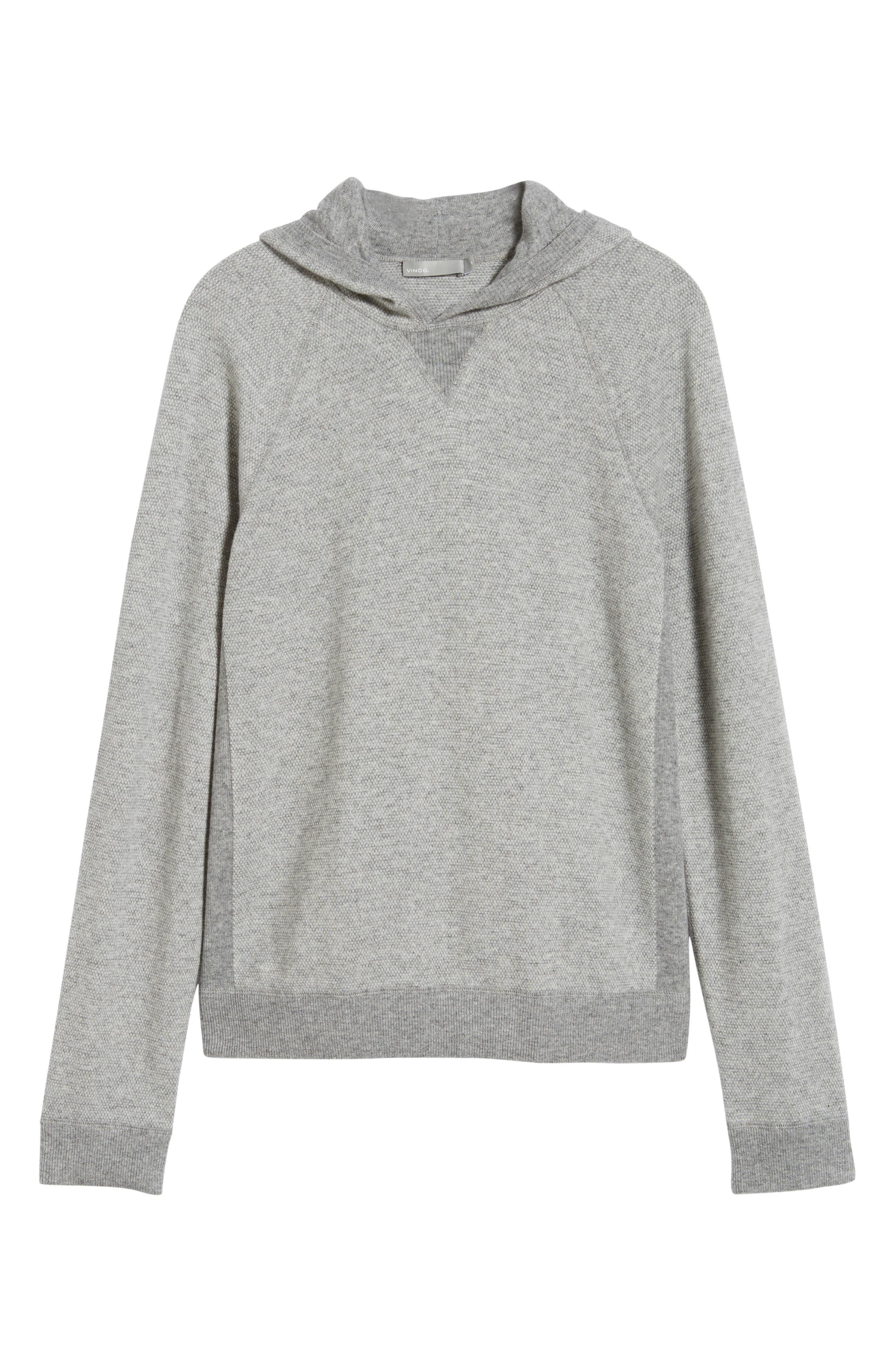 Regular Fit Bird's Eye Hoodie,                             Alternate thumbnail 6, color,                             H GREY/ PEARL