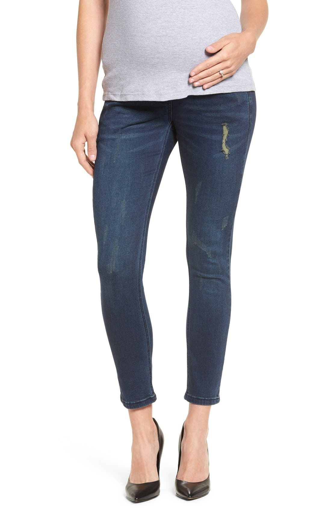 DistressedSkinnyMaternity Jeans,                             Main thumbnail 1, color,                             CLASSIC WASH