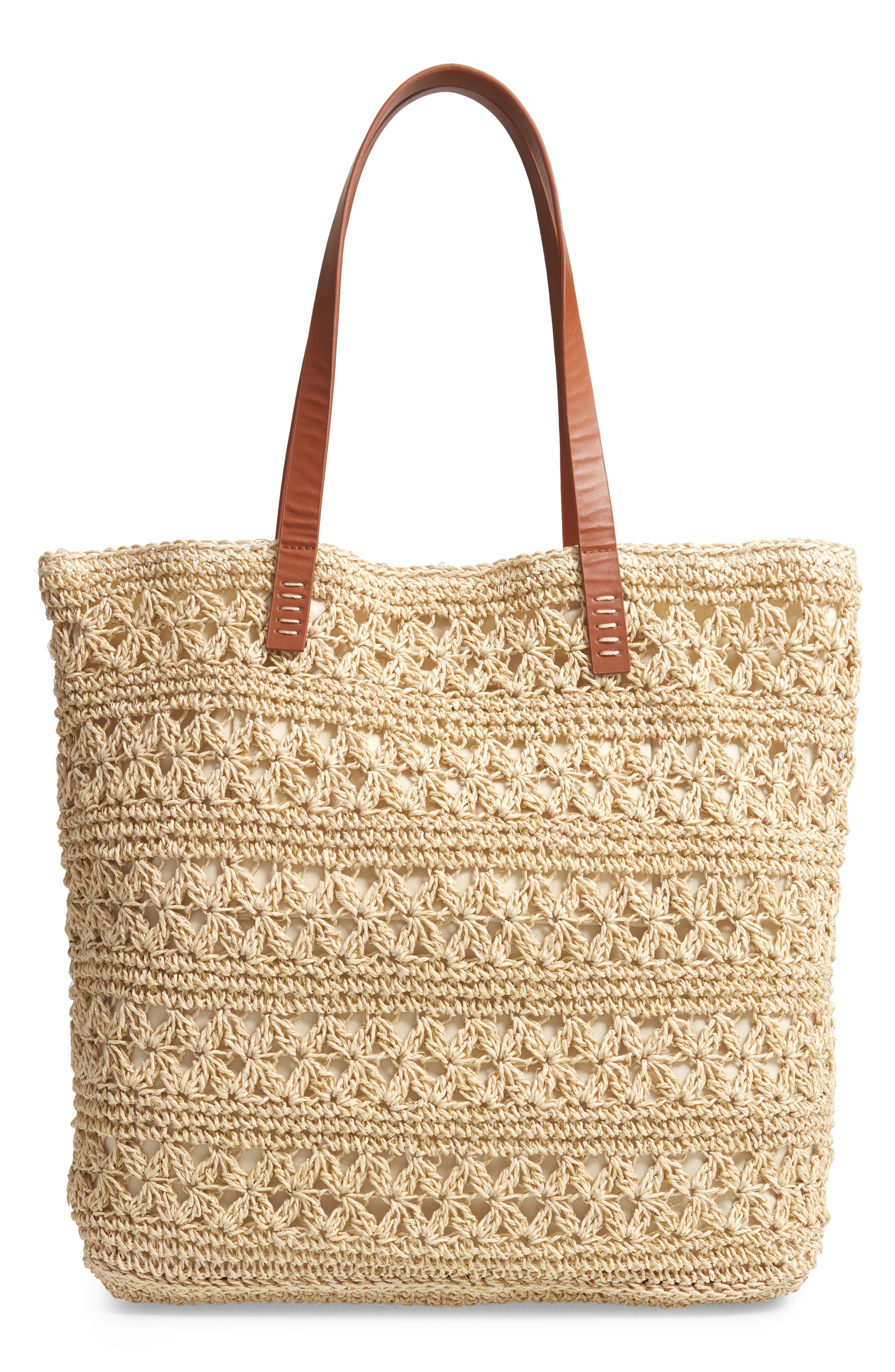 NORDSTROM,                             Packable Woven Raffia Tote,                             Main thumbnail 1, color,                             NATURAL